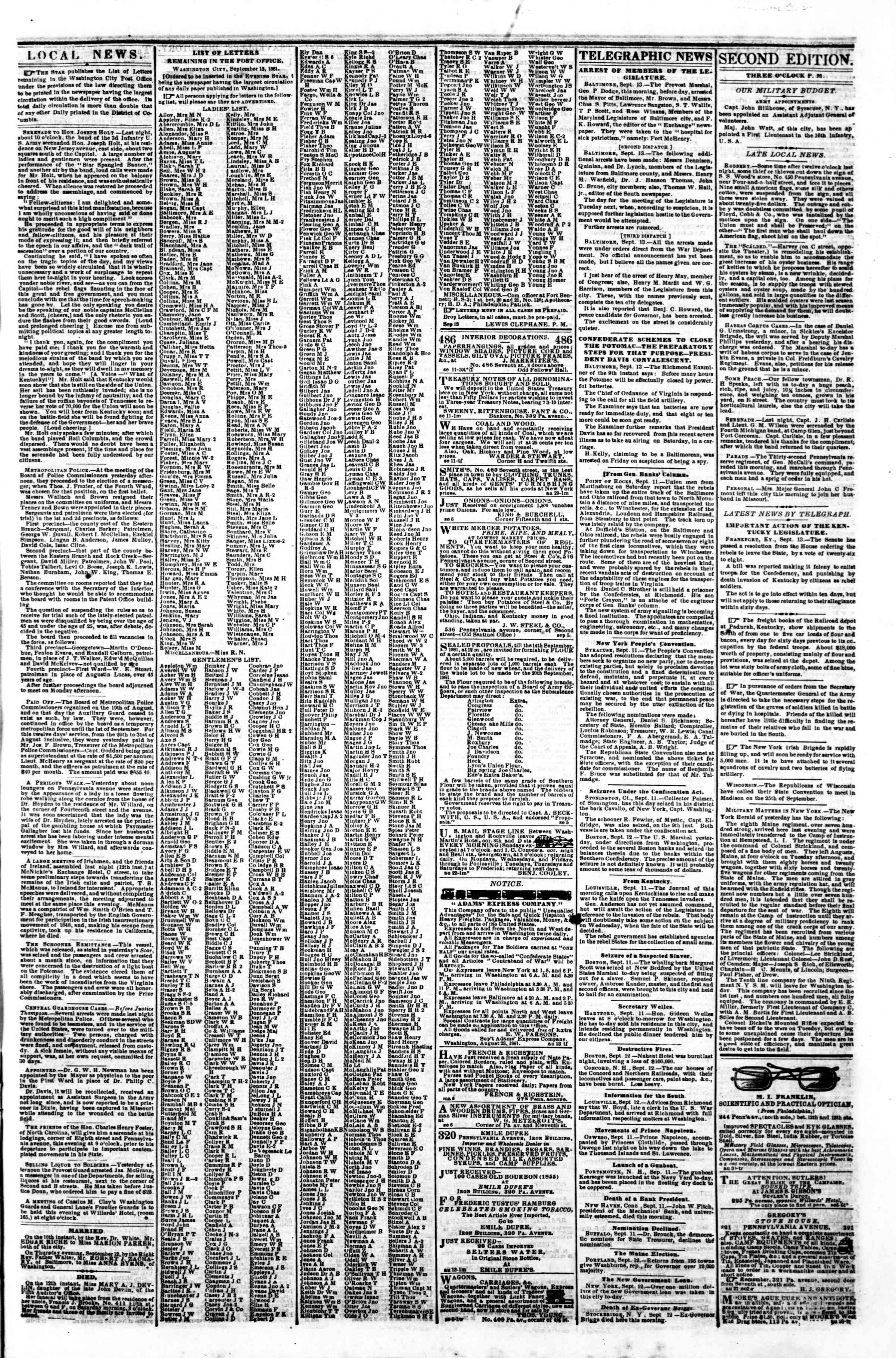 Newspaper of Evening Star dated September 13, 1861 Page 3
