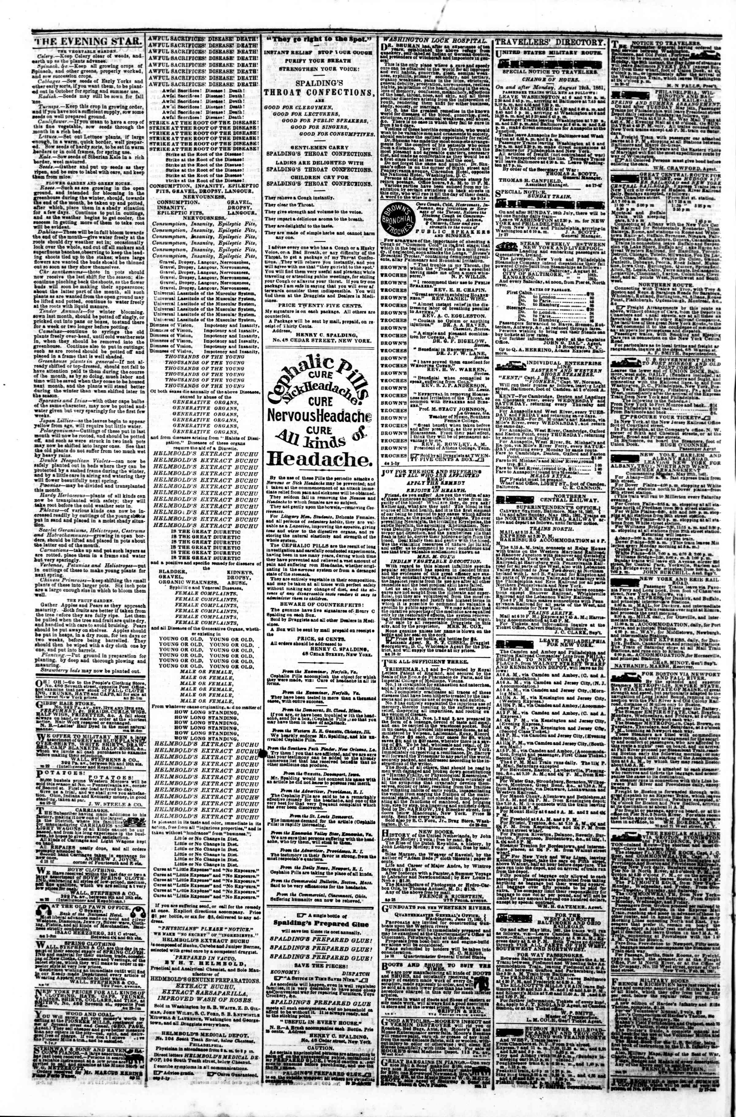 Newspaper of Evening Star dated September 13, 1861 Page 4