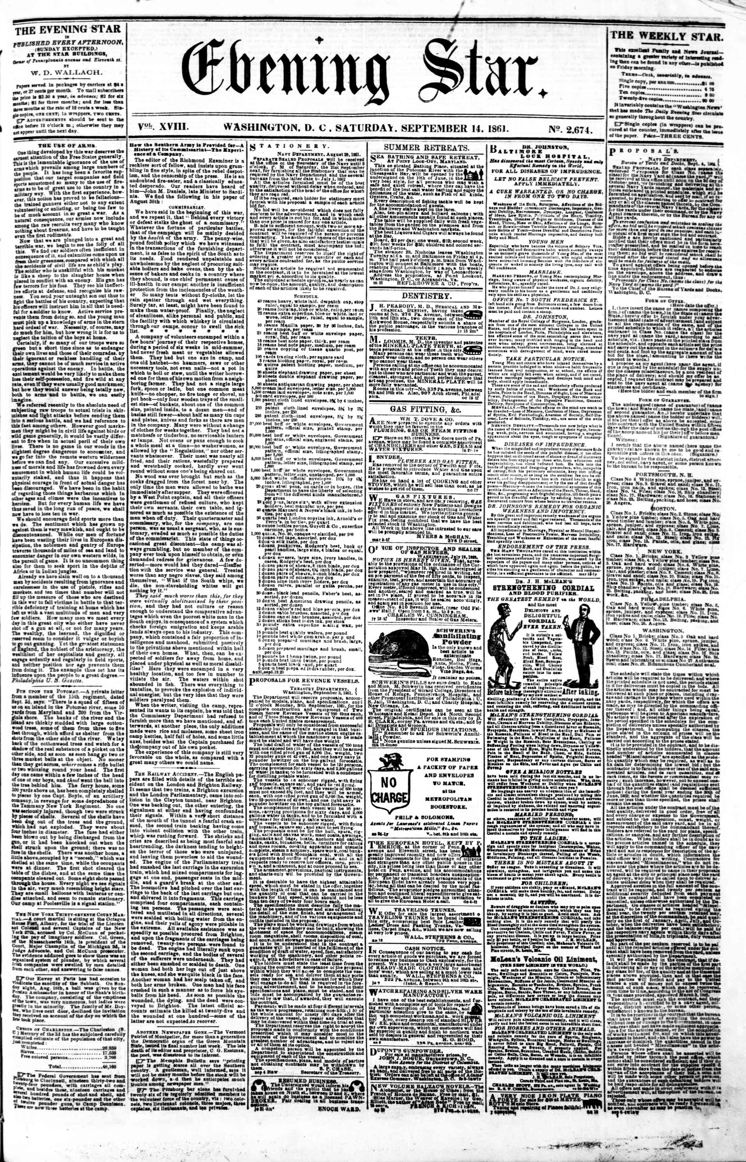 Newspaper of Evening Star dated September 14, 1861 Page 1