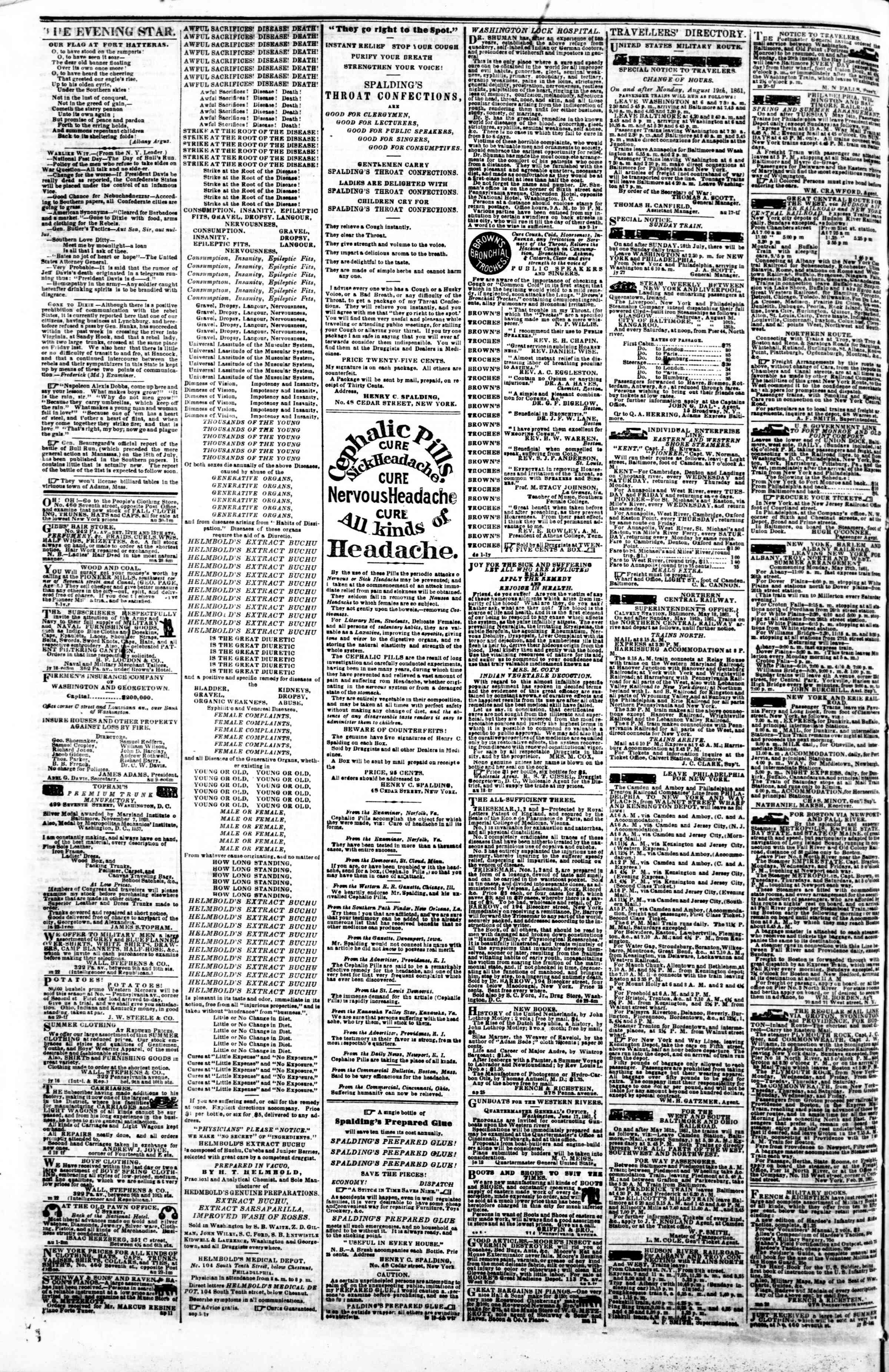 Newspaper of Evening Star dated September 14, 1861 Page 4