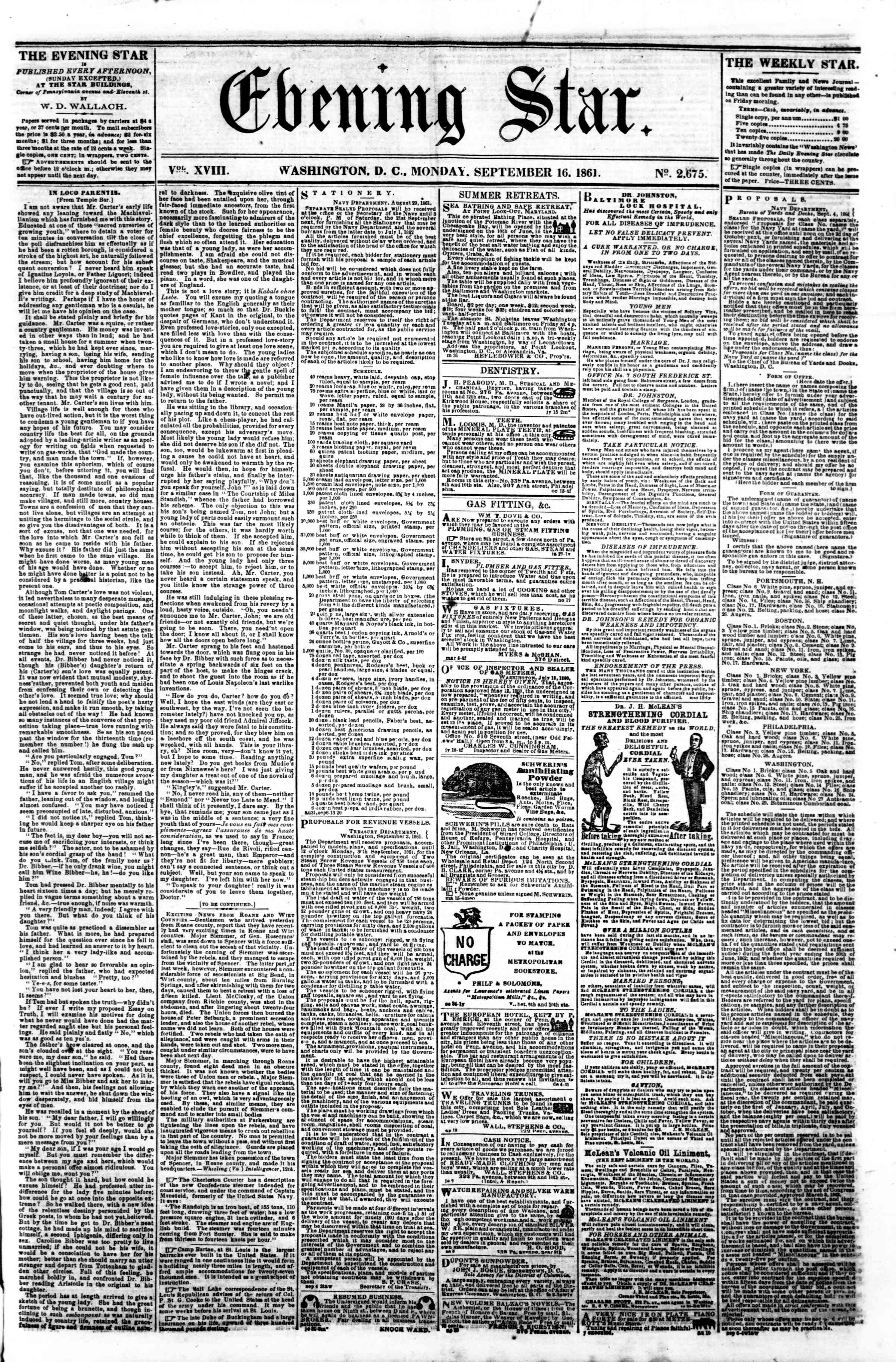 Newspaper of Evening Star dated September 16, 1861 Page 1