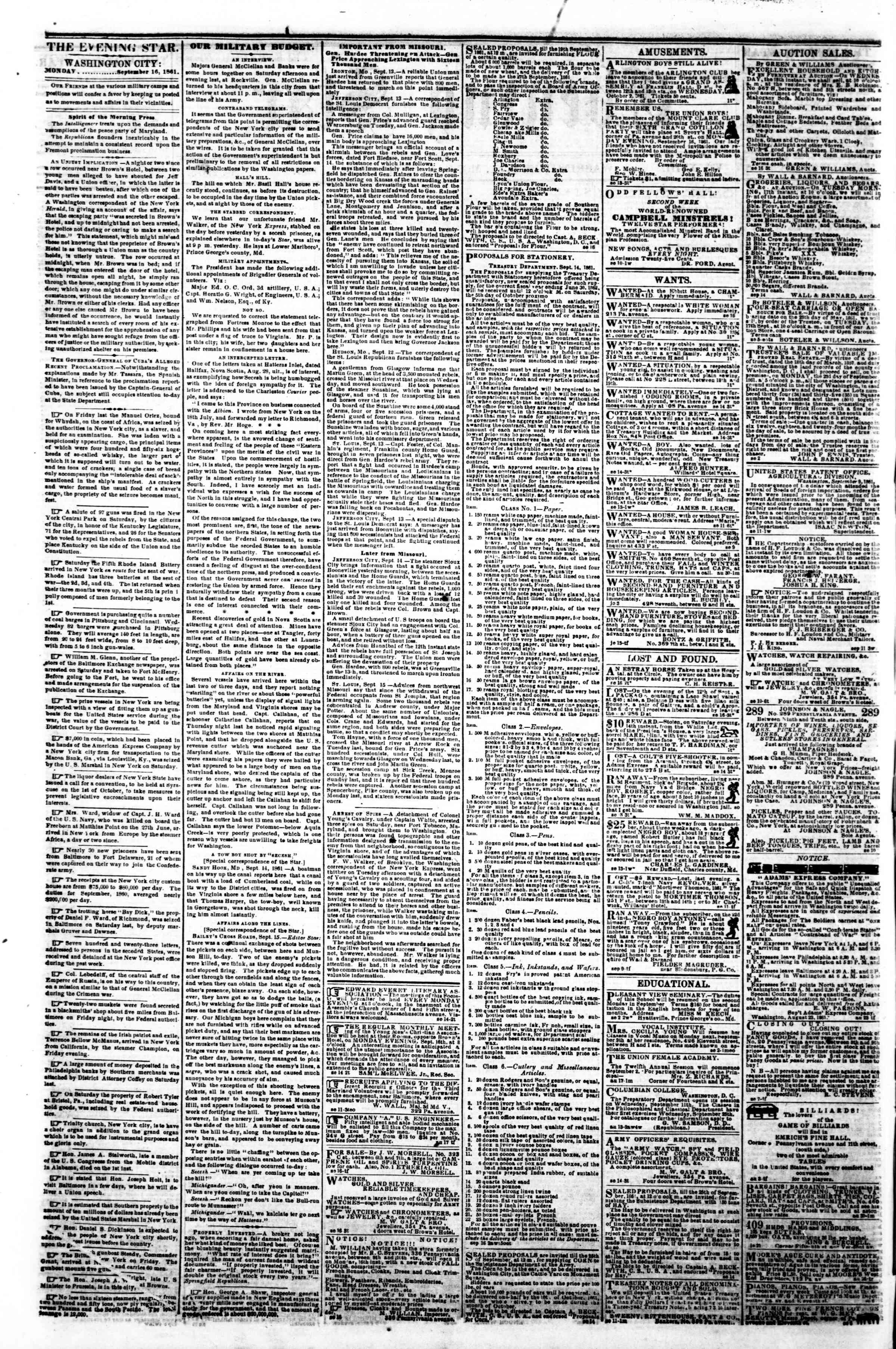 Newspaper of Evening Star dated September 16, 1861 Page 2