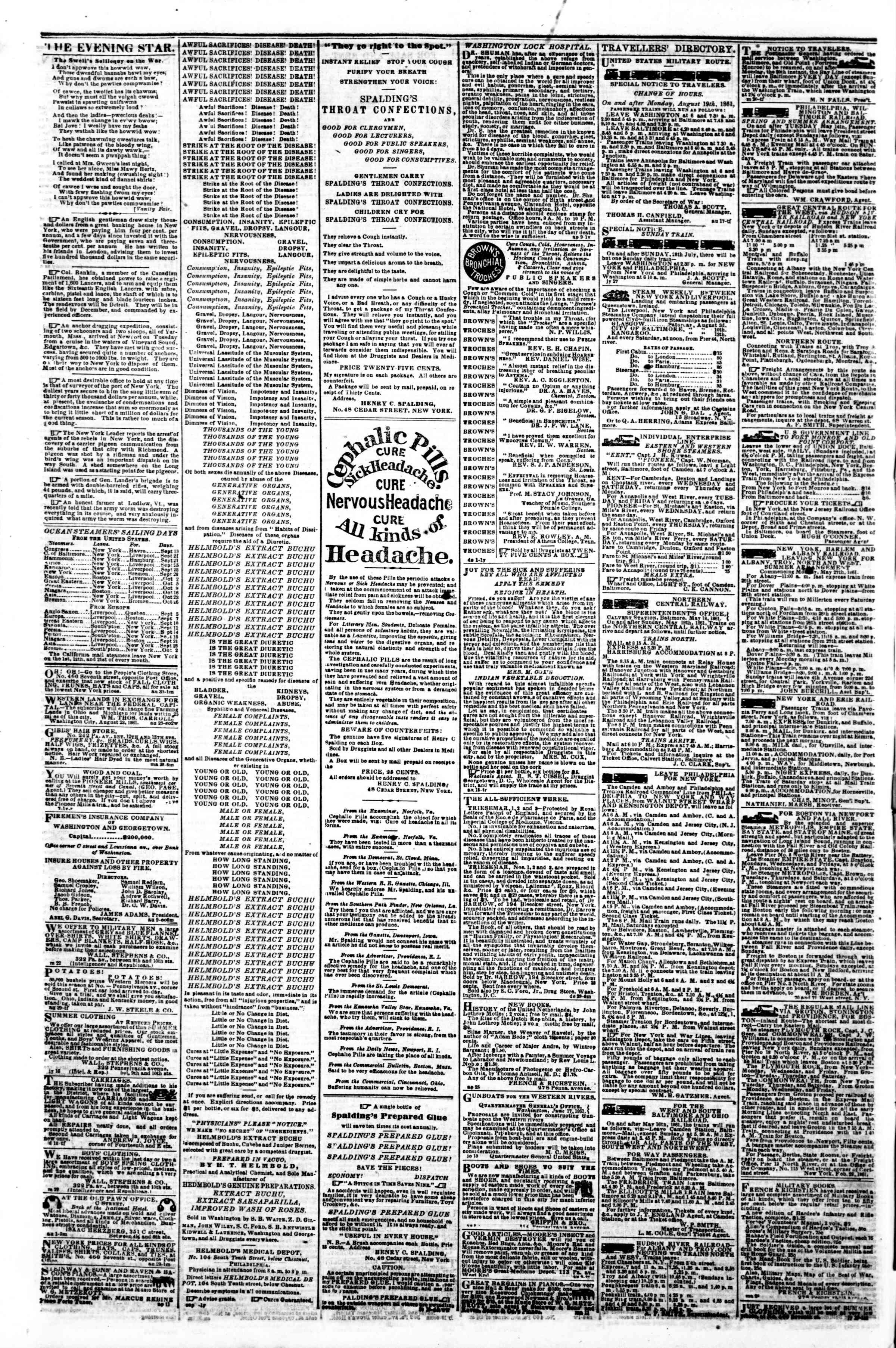Newspaper of Evening Star dated September 16, 1861 Page 4
