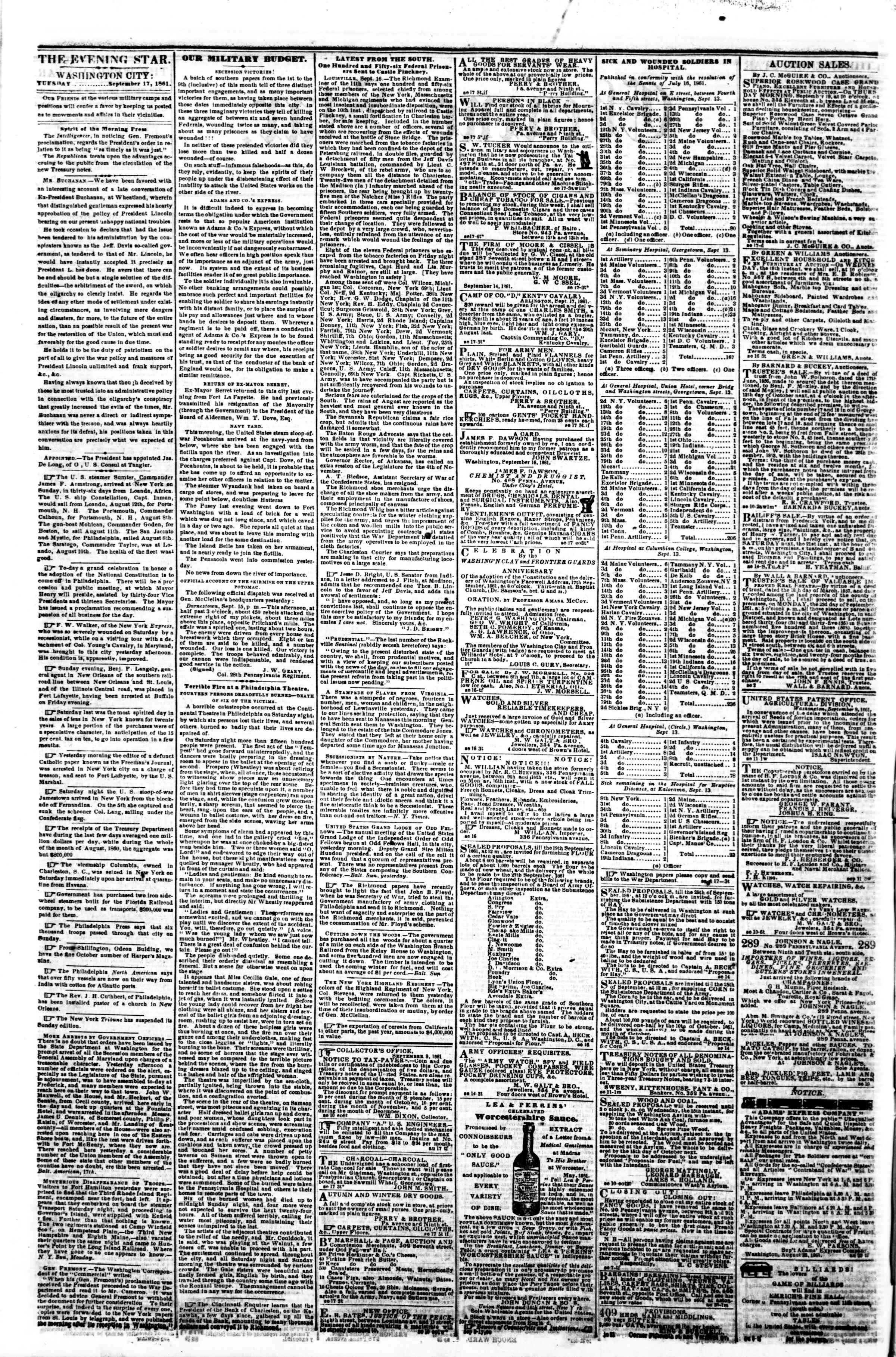 Newspaper of Evening Star dated September 17, 1861 Page 2