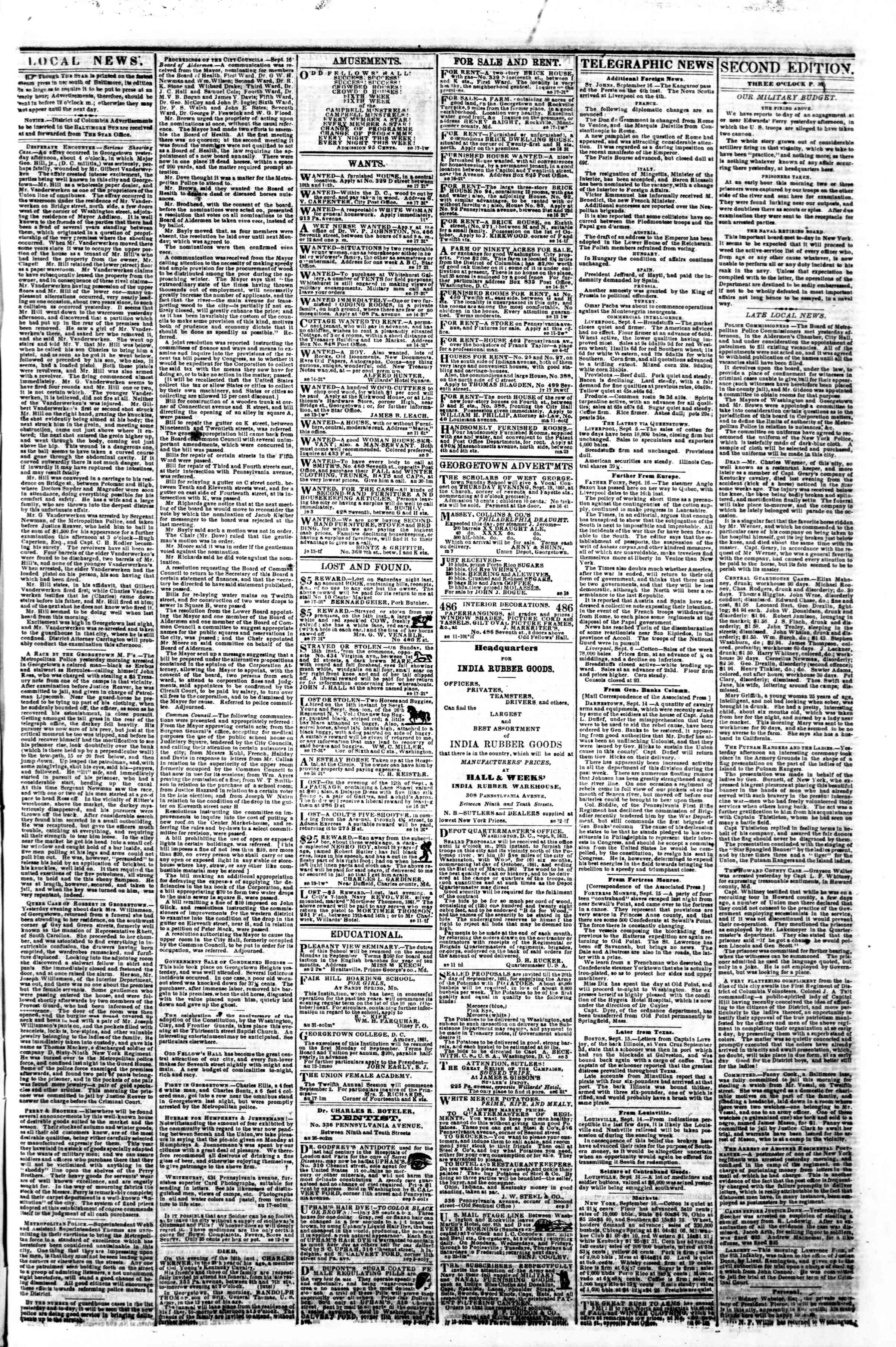 Newspaper of Evening Star dated September 17, 1861 Page 3