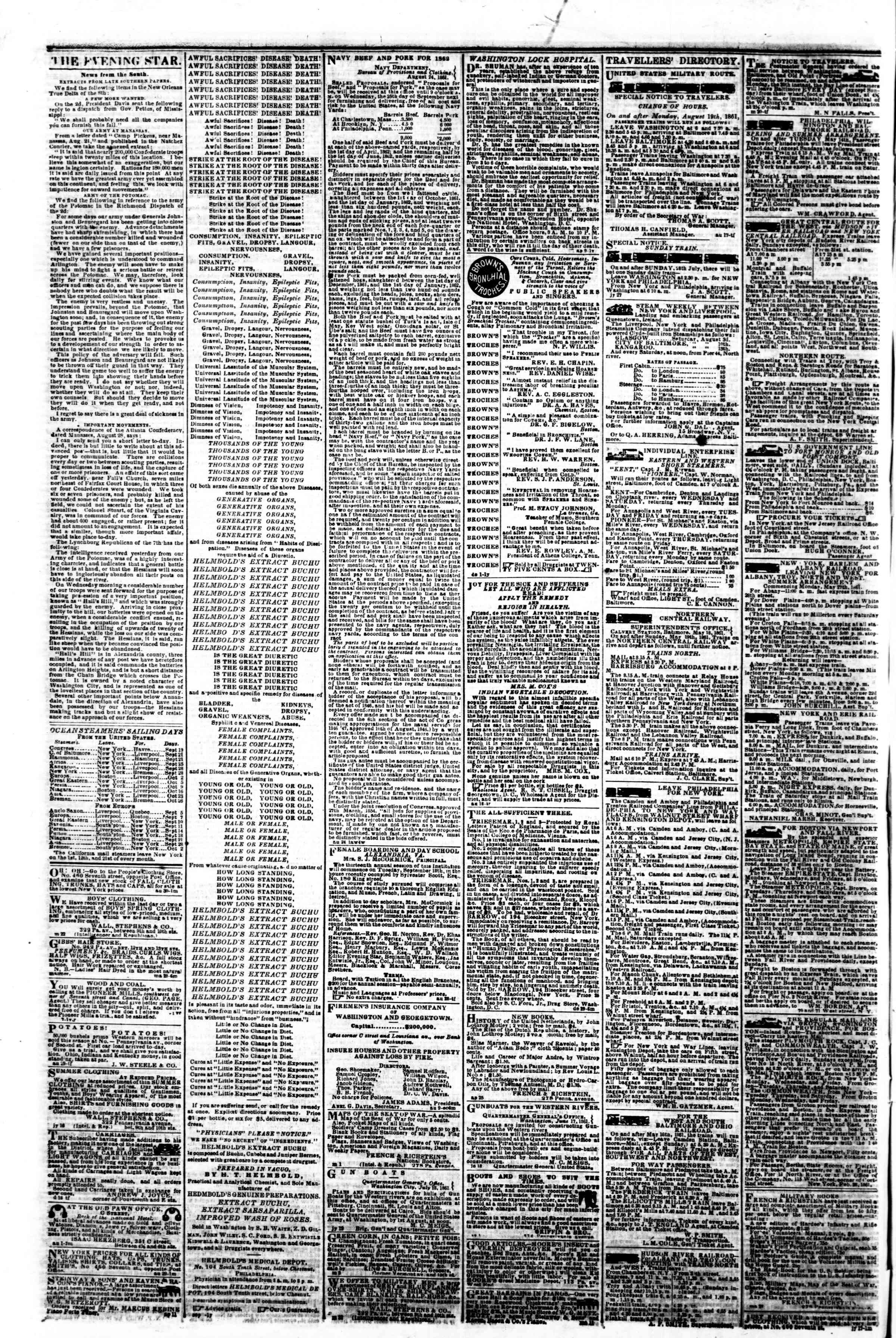 Newspaper of Evening Star dated September 17, 1861 Page 4