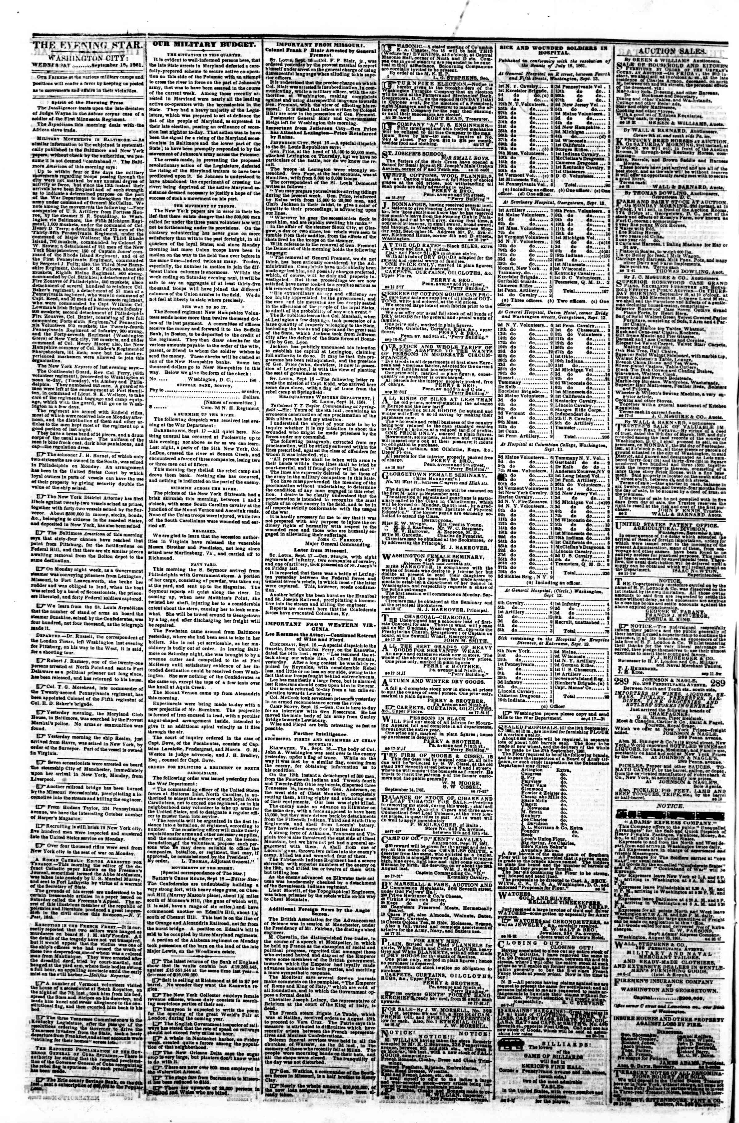 Newspaper of Evening Star dated September 18, 1861 Page 2