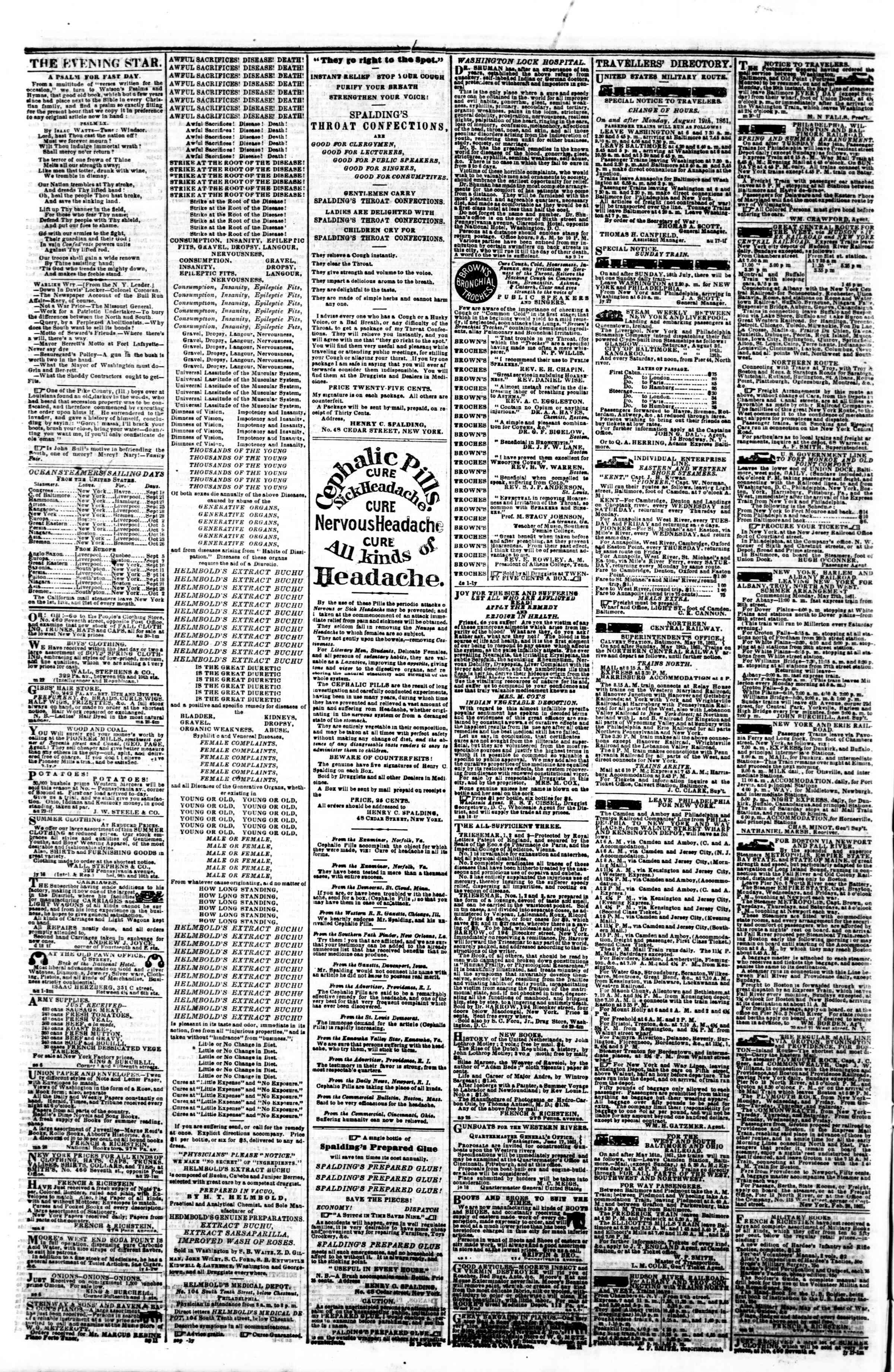 Newspaper of Evening Star dated September 18, 1861 Page 4