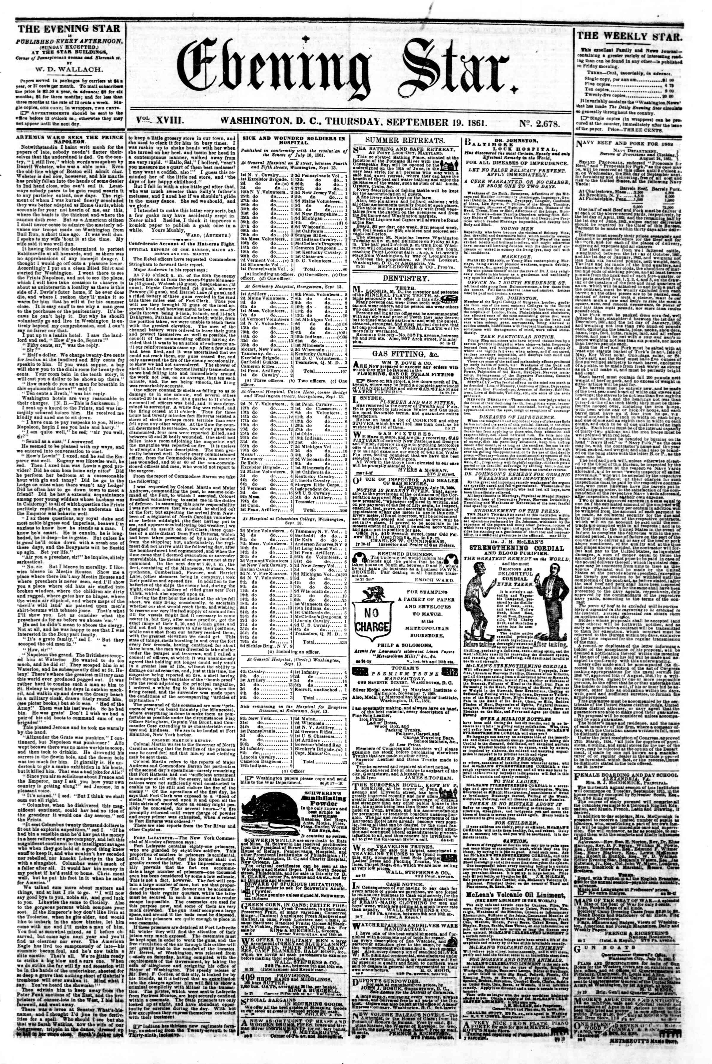 Newspaper of Evening Star dated September 19, 1861 Page 1