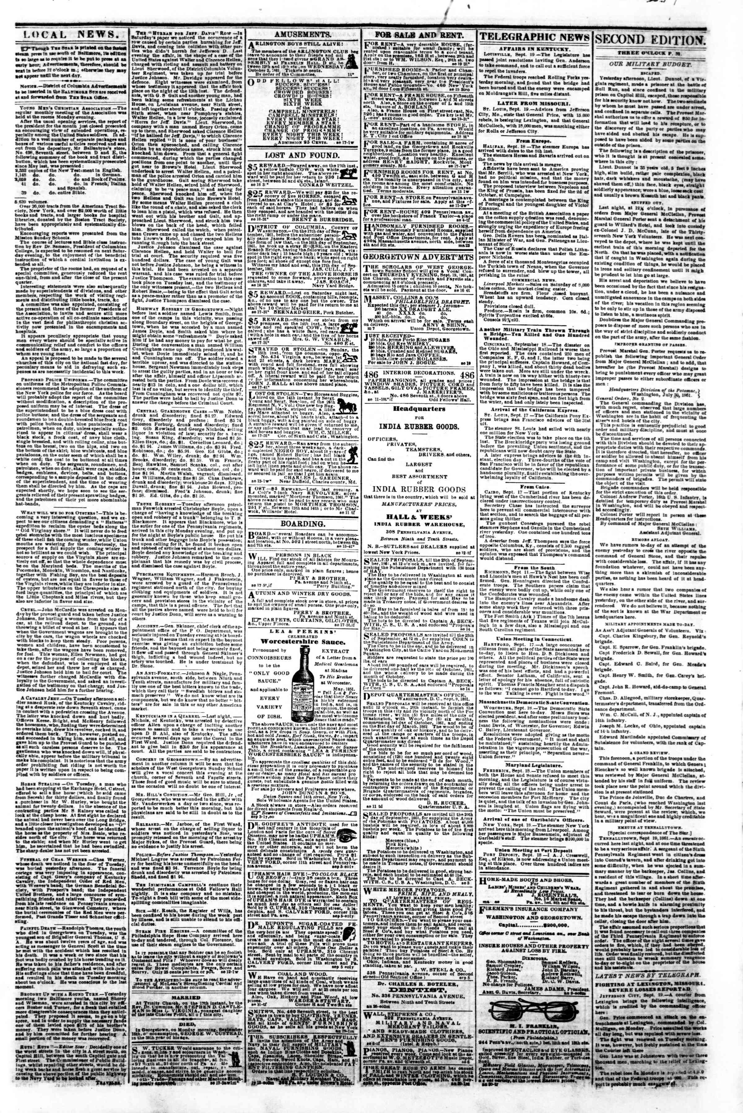 Newspaper of Evening Star dated 19 Eylül 1861 Page 3