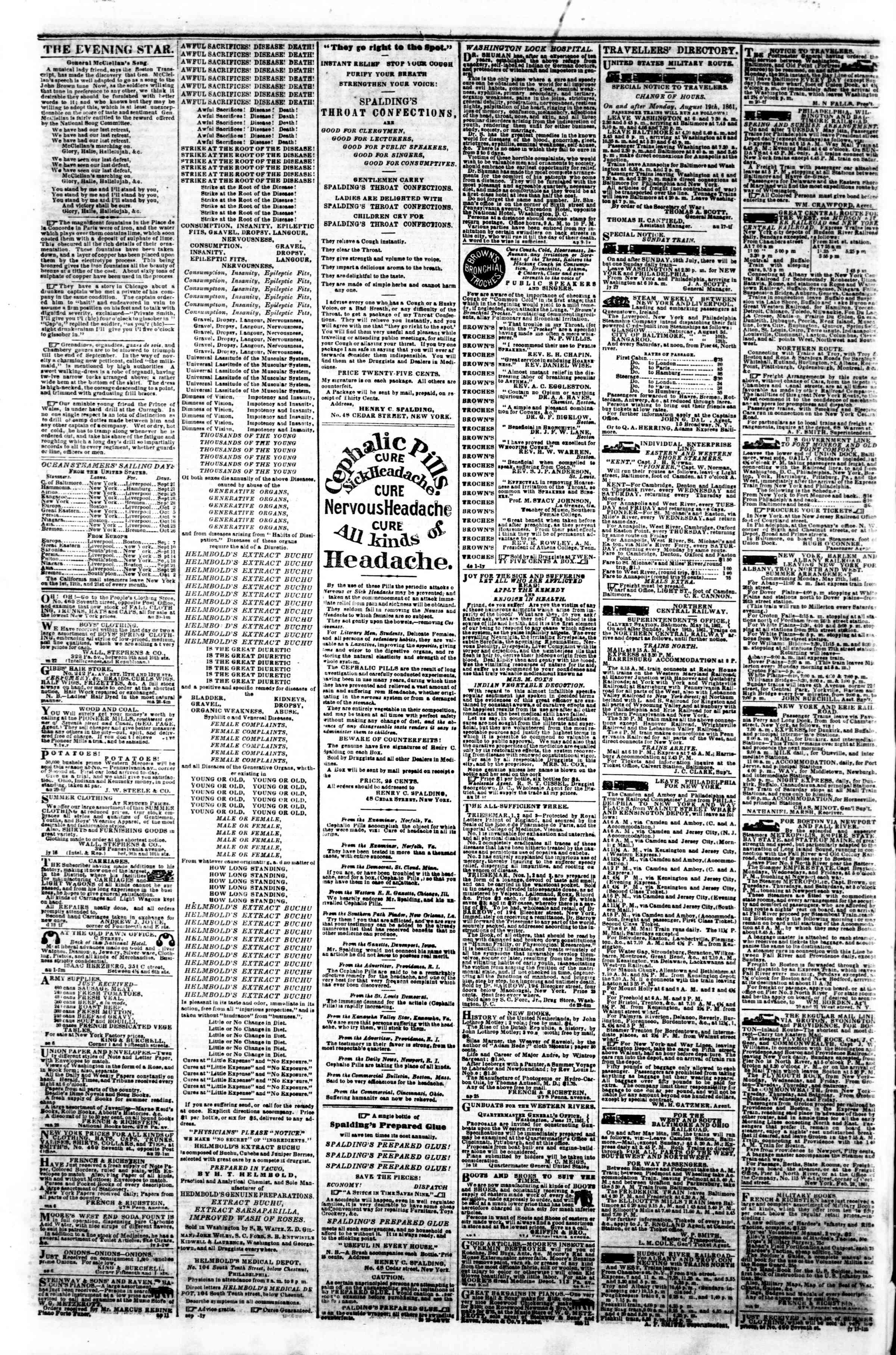 Newspaper of Evening Star dated September 19, 1861 Page 4