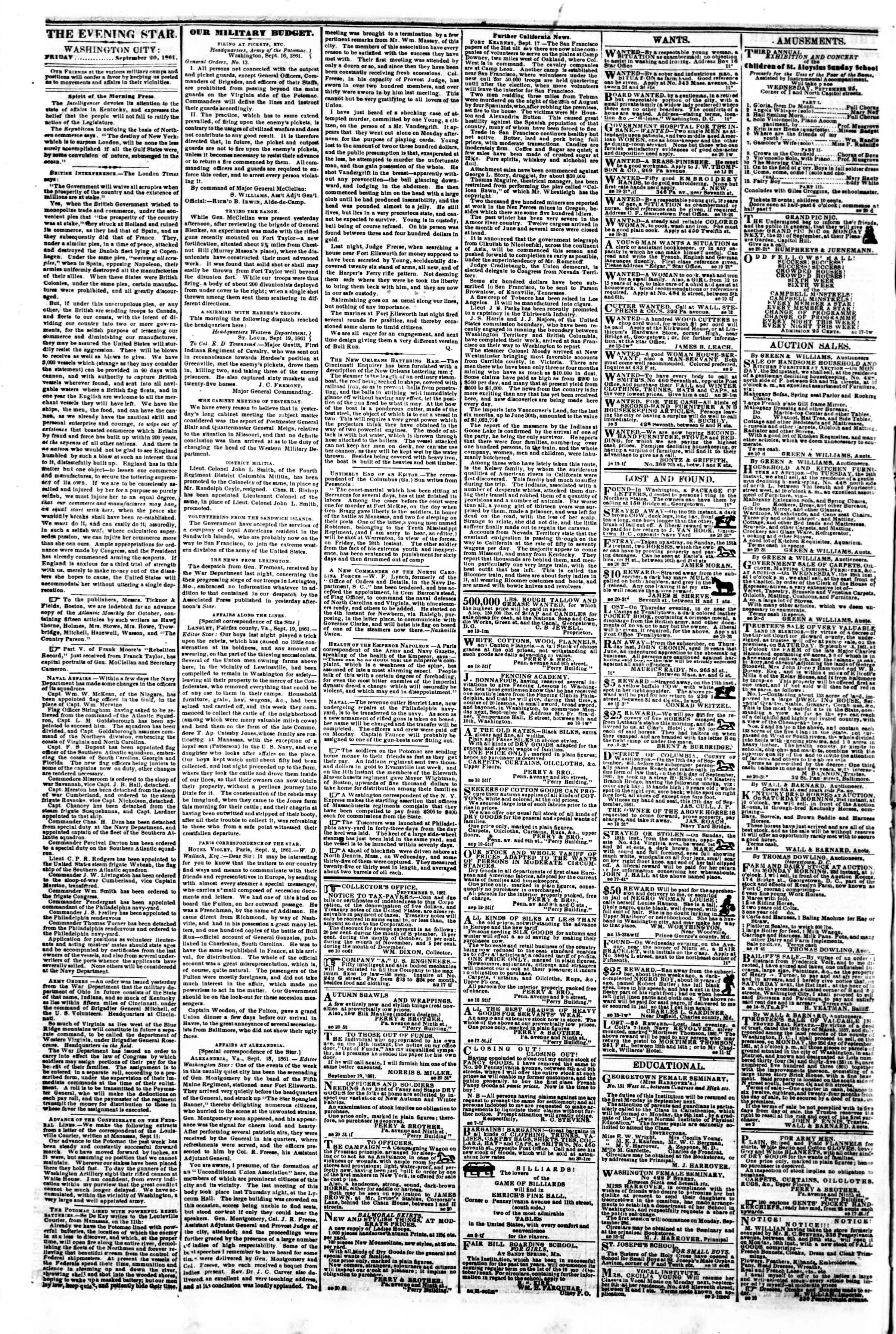 Newspaper of Evening Star dated September 20, 1861 Page 2