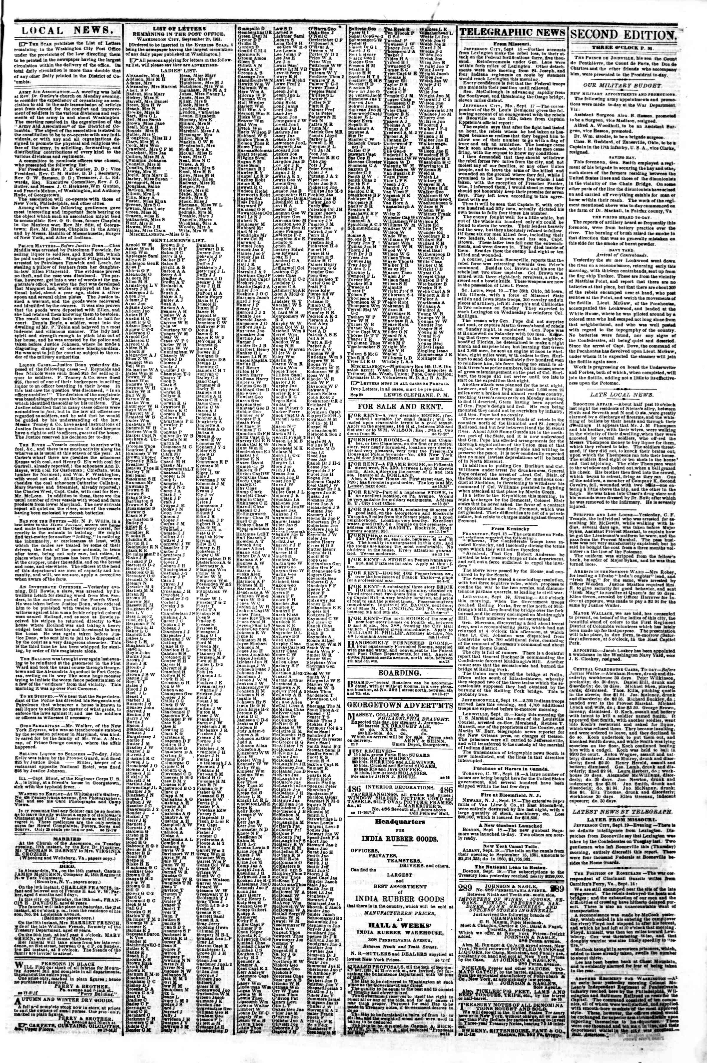 Newspaper of Evening Star dated September 20, 1861 Page 3