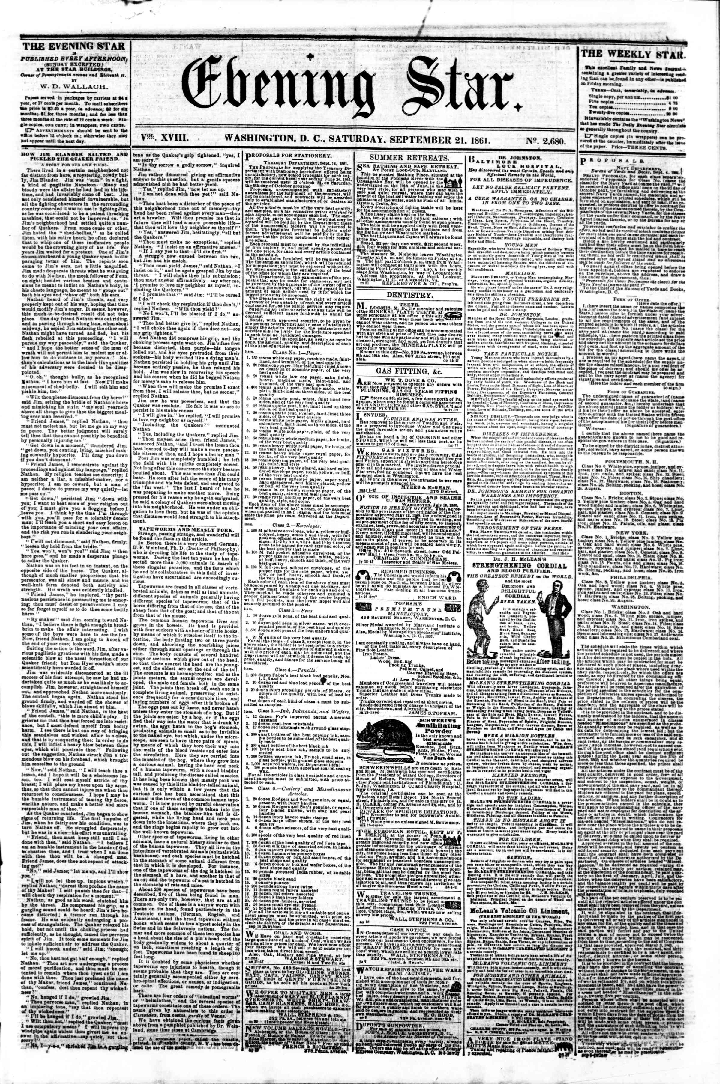 Newspaper of Evening Star dated September 21, 1861 Page 1