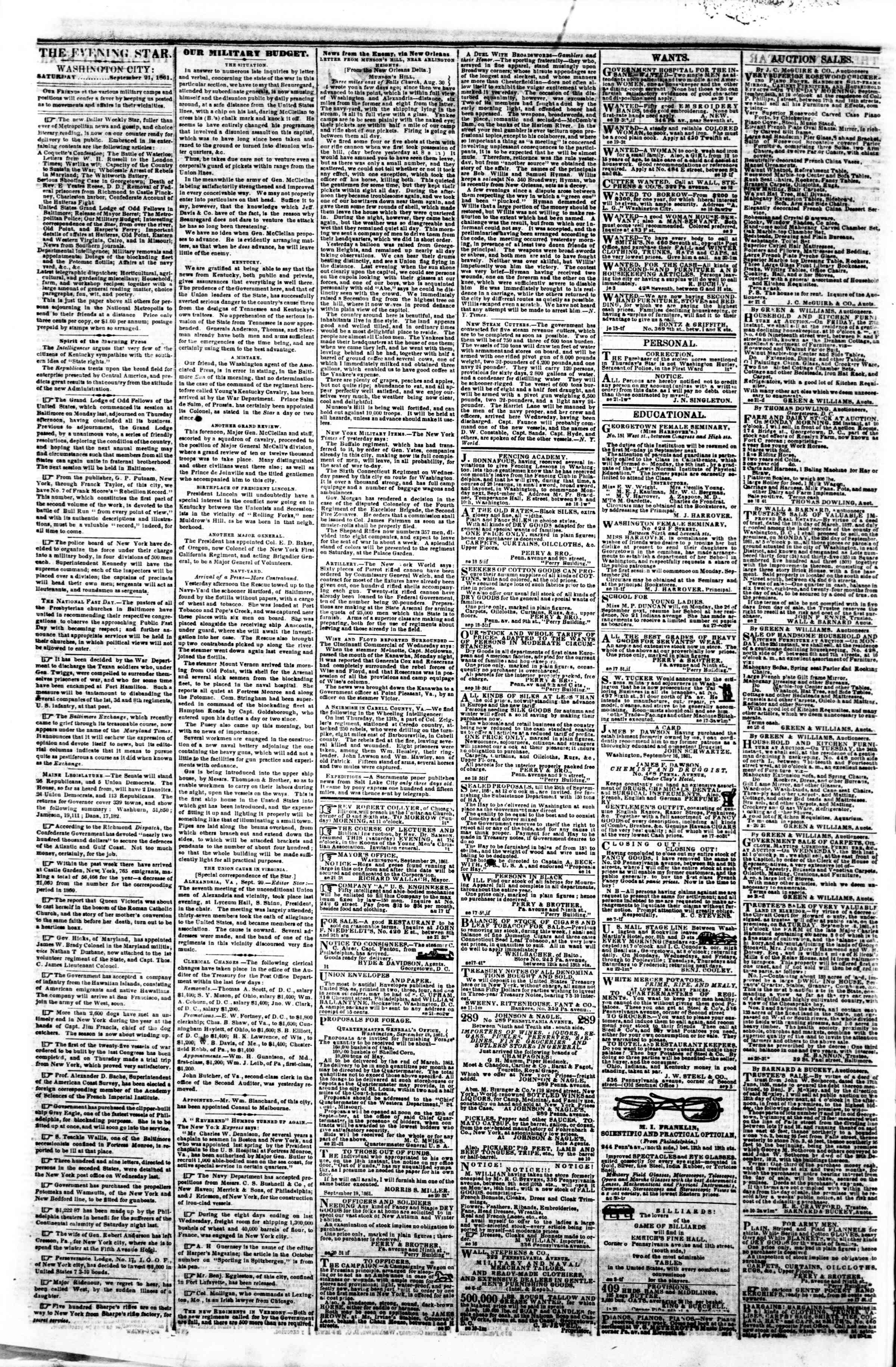 Newspaper of Evening Star dated September 21, 1861 Page 2