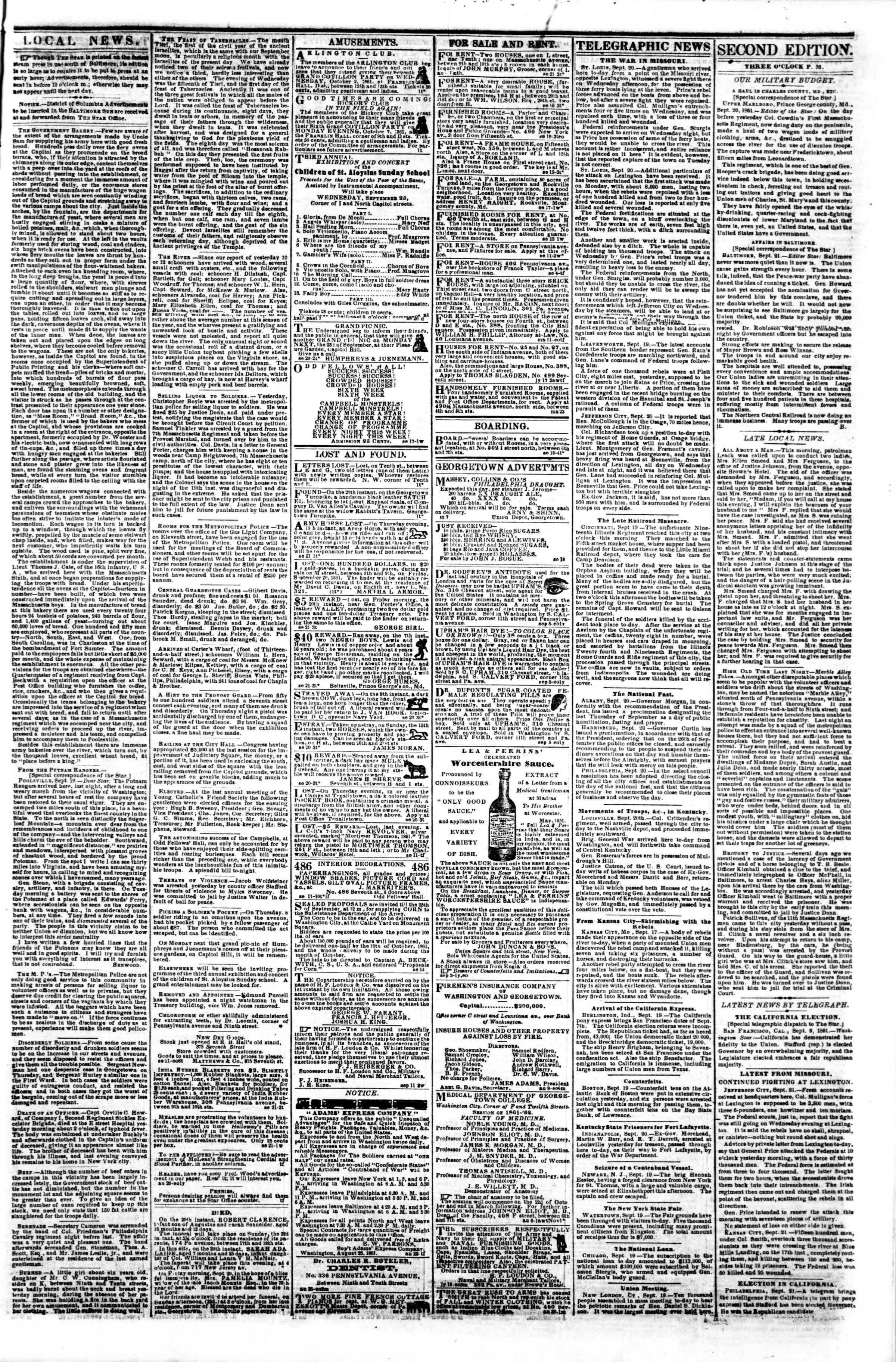 Newspaper of Evening Star dated September 21, 1861 Page 3