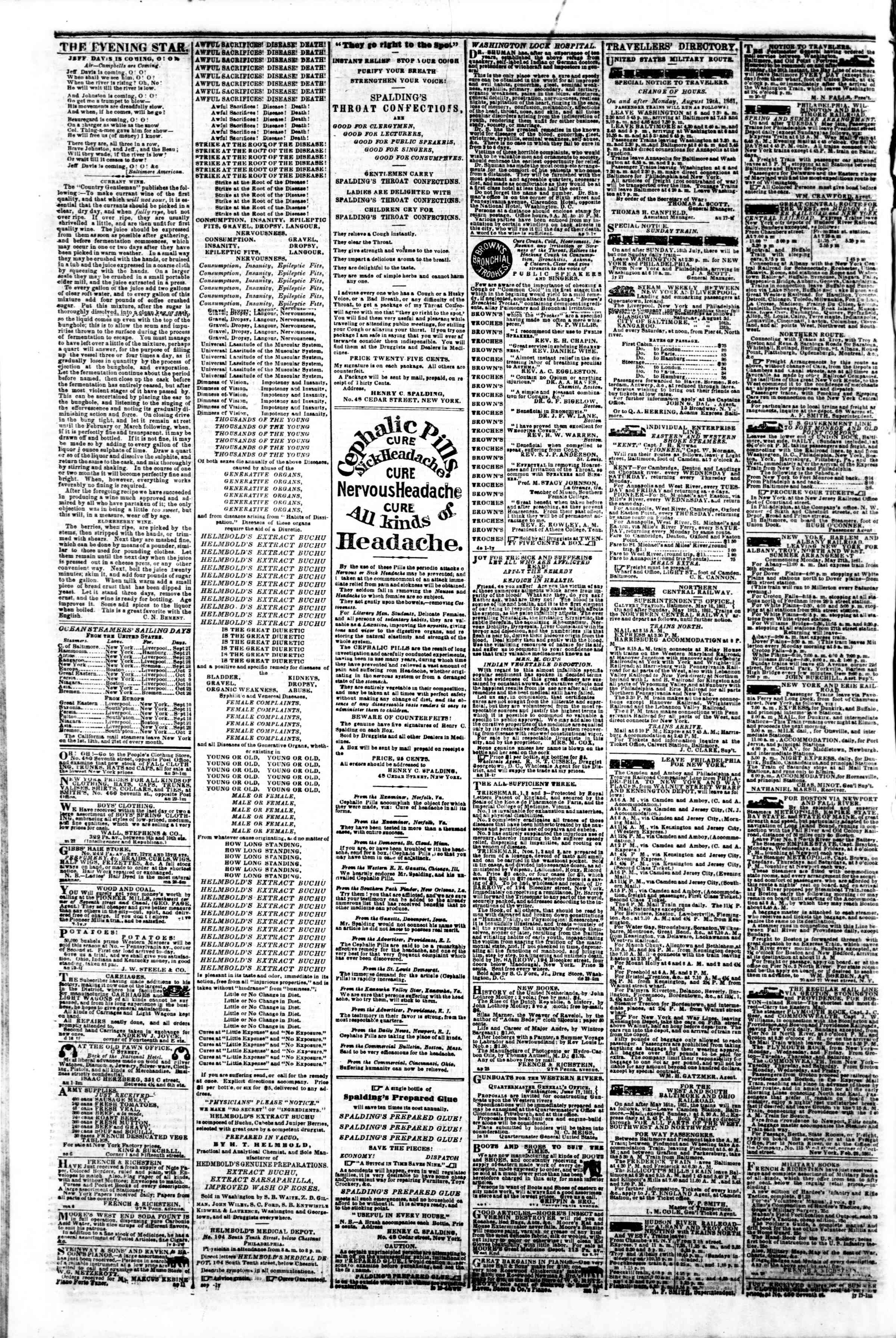 Newspaper of Evening Star dated September 21, 1861 Page 4