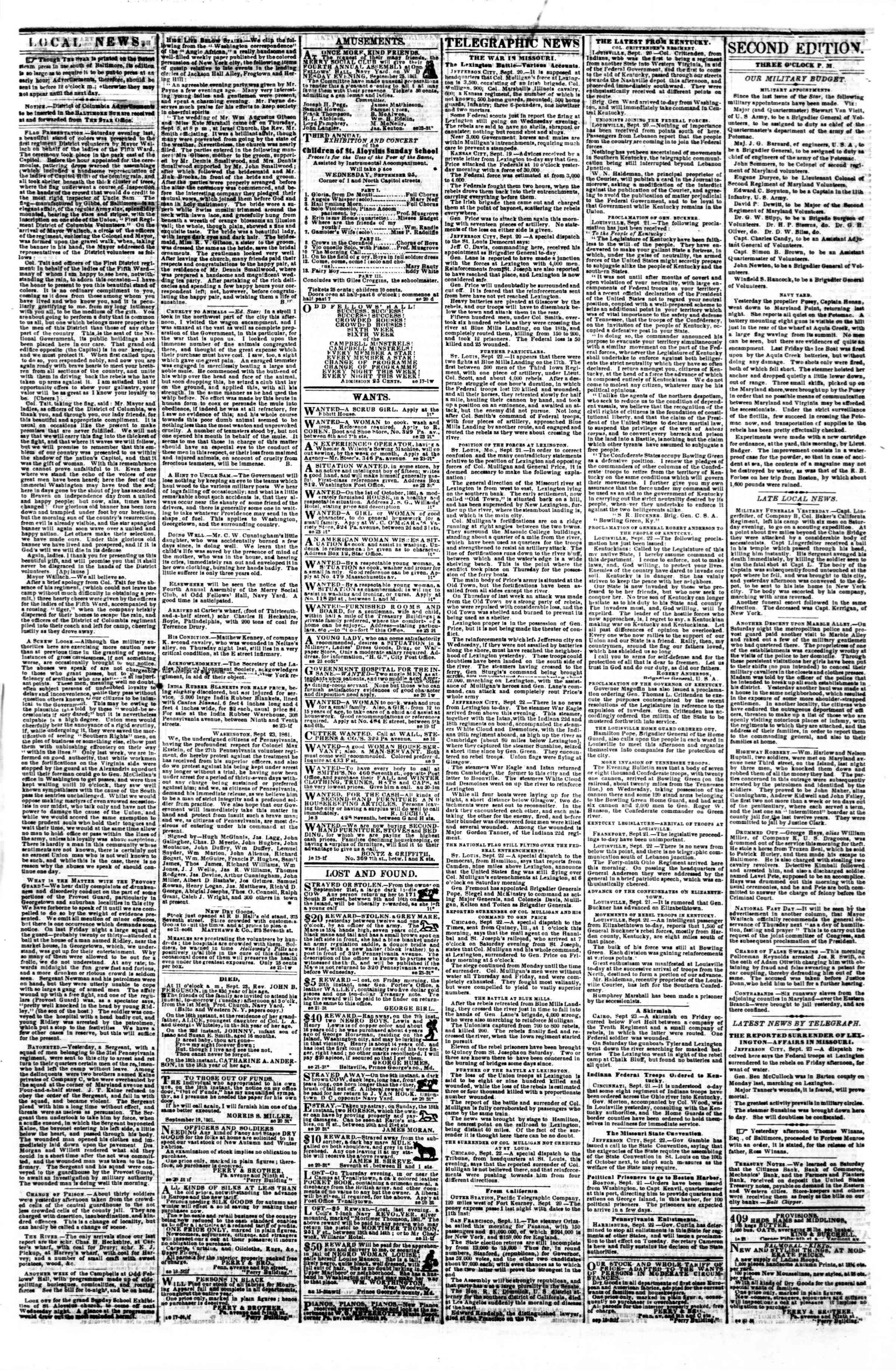 Newspaper of Evening Star dated September 23, 1861 Page 3