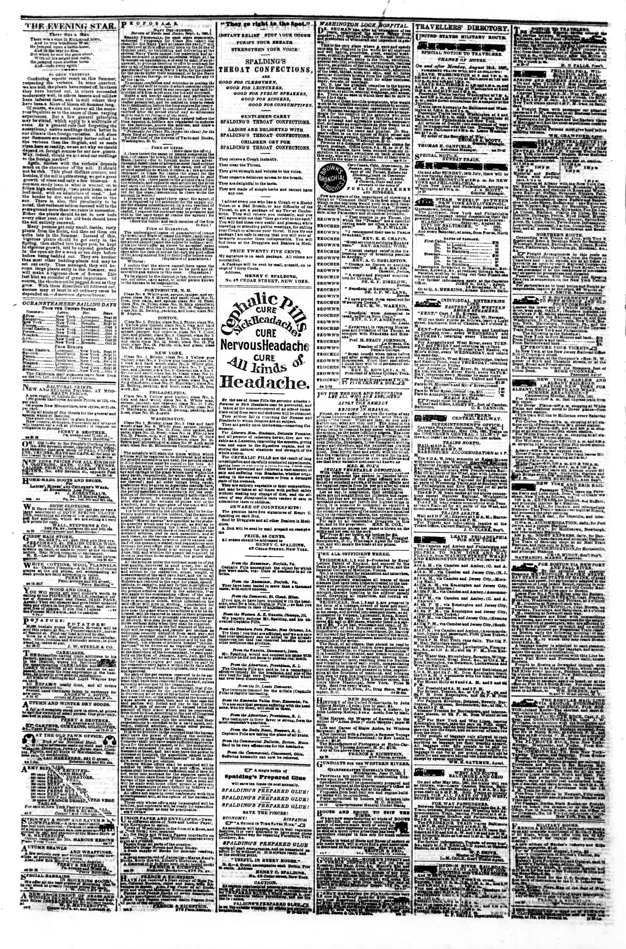 Newspaper of Evening Star dated September 23, 1861 Page 4