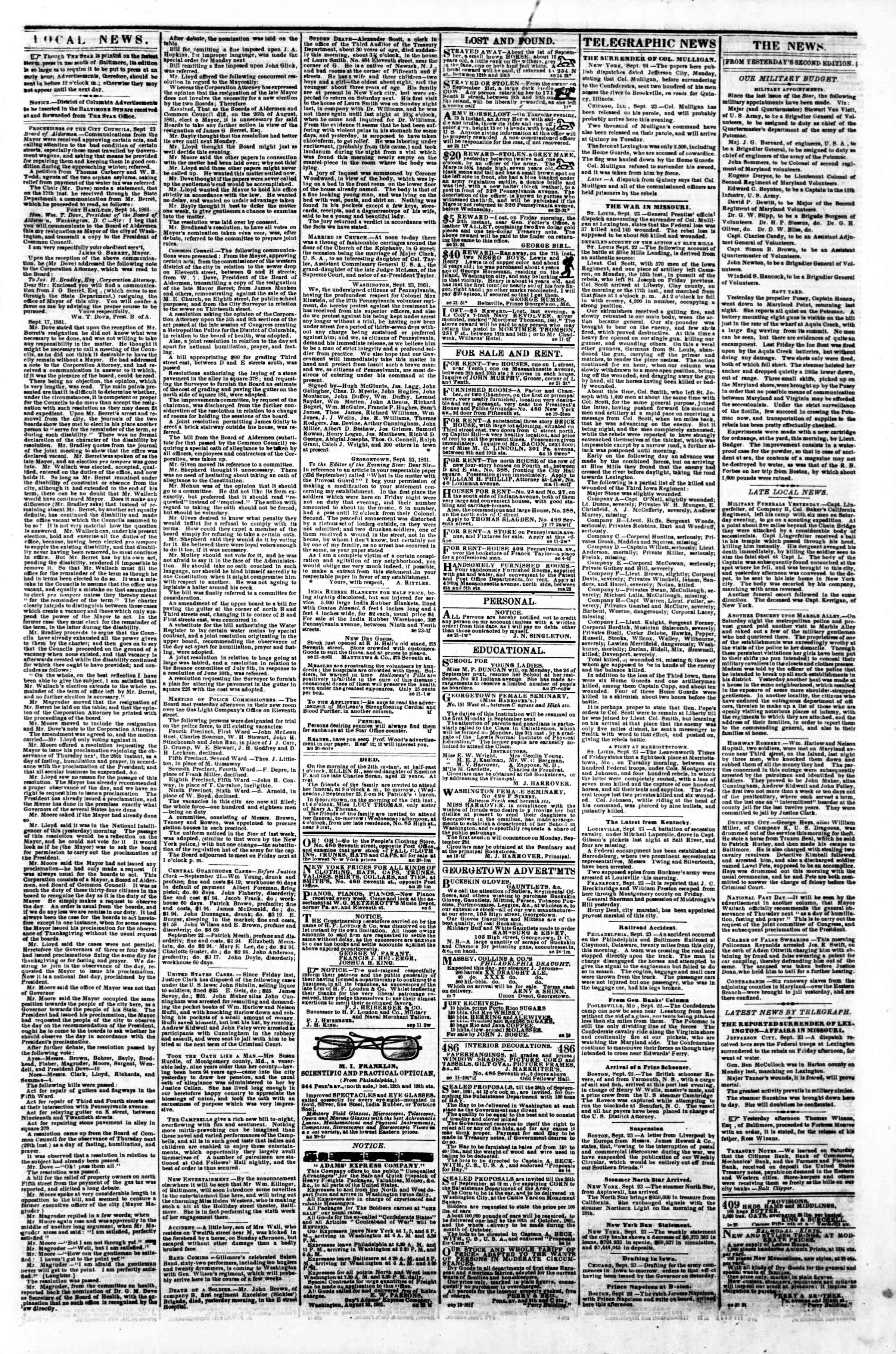 Newspaper of Evening Star dated September 24, 1861 Page 3