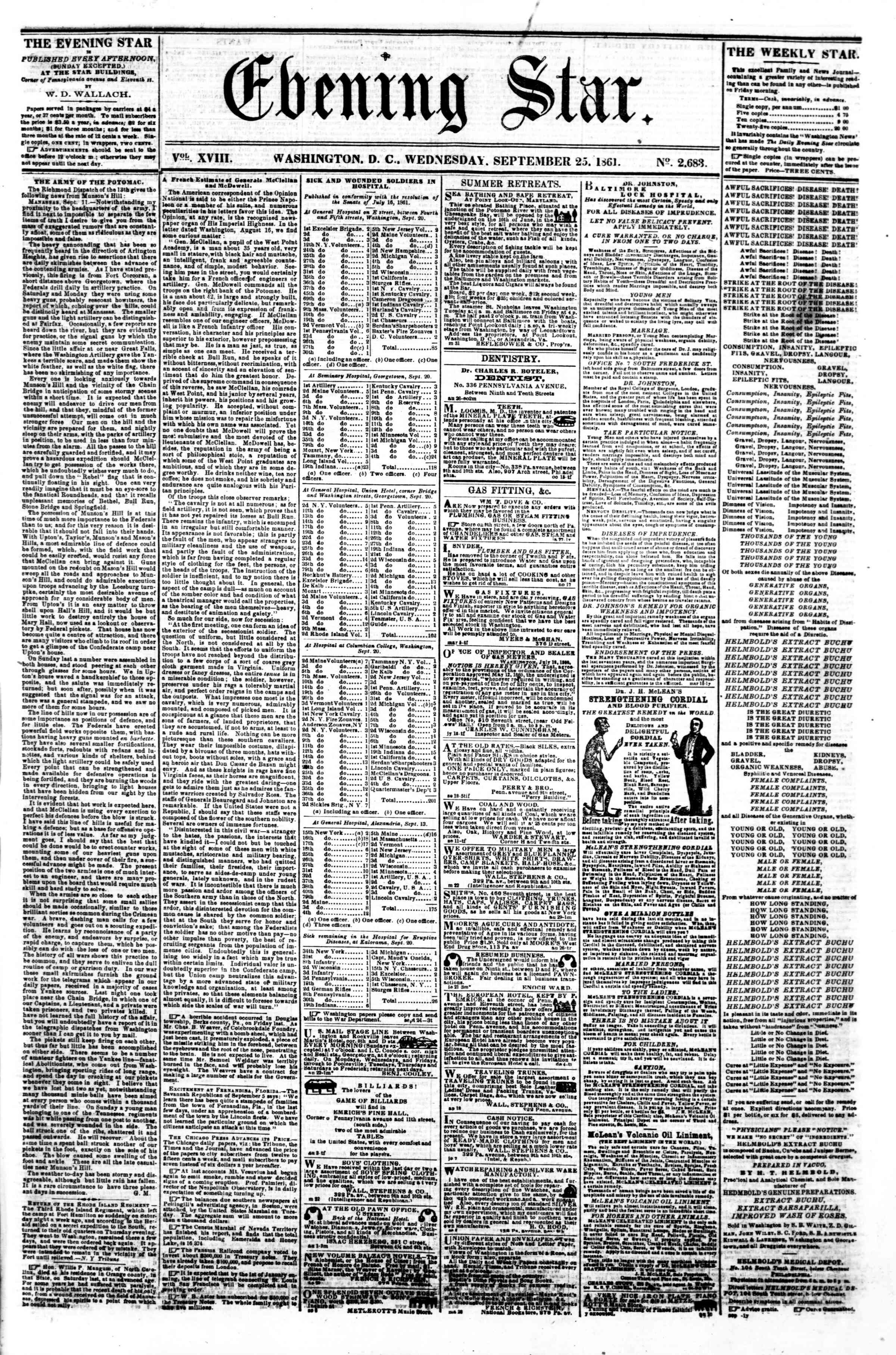Newspaper of Evening Star dated September 25, 1861 Page 1