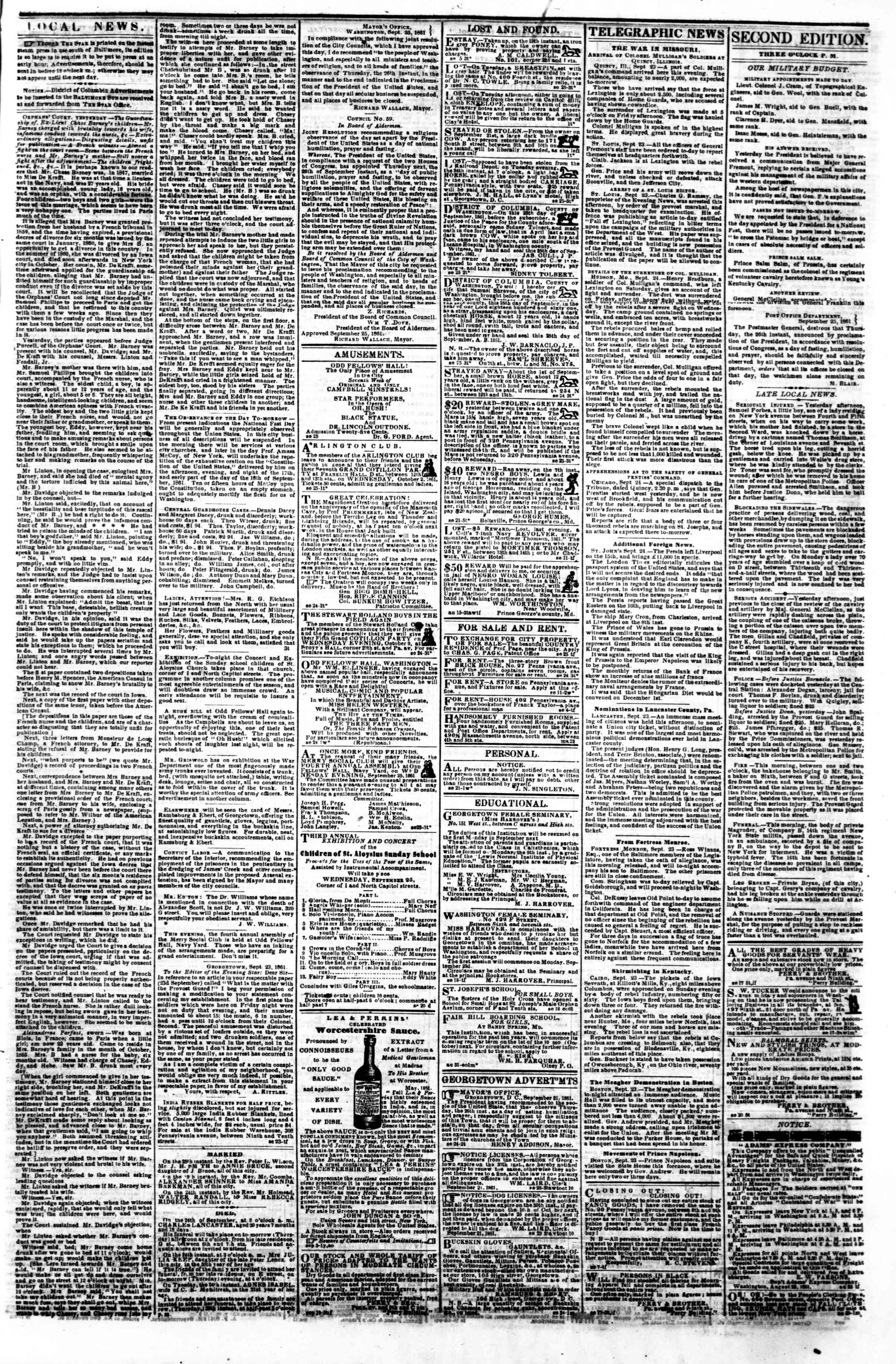 Newspaper of Evening Star dated September 25, 1861 Page 3