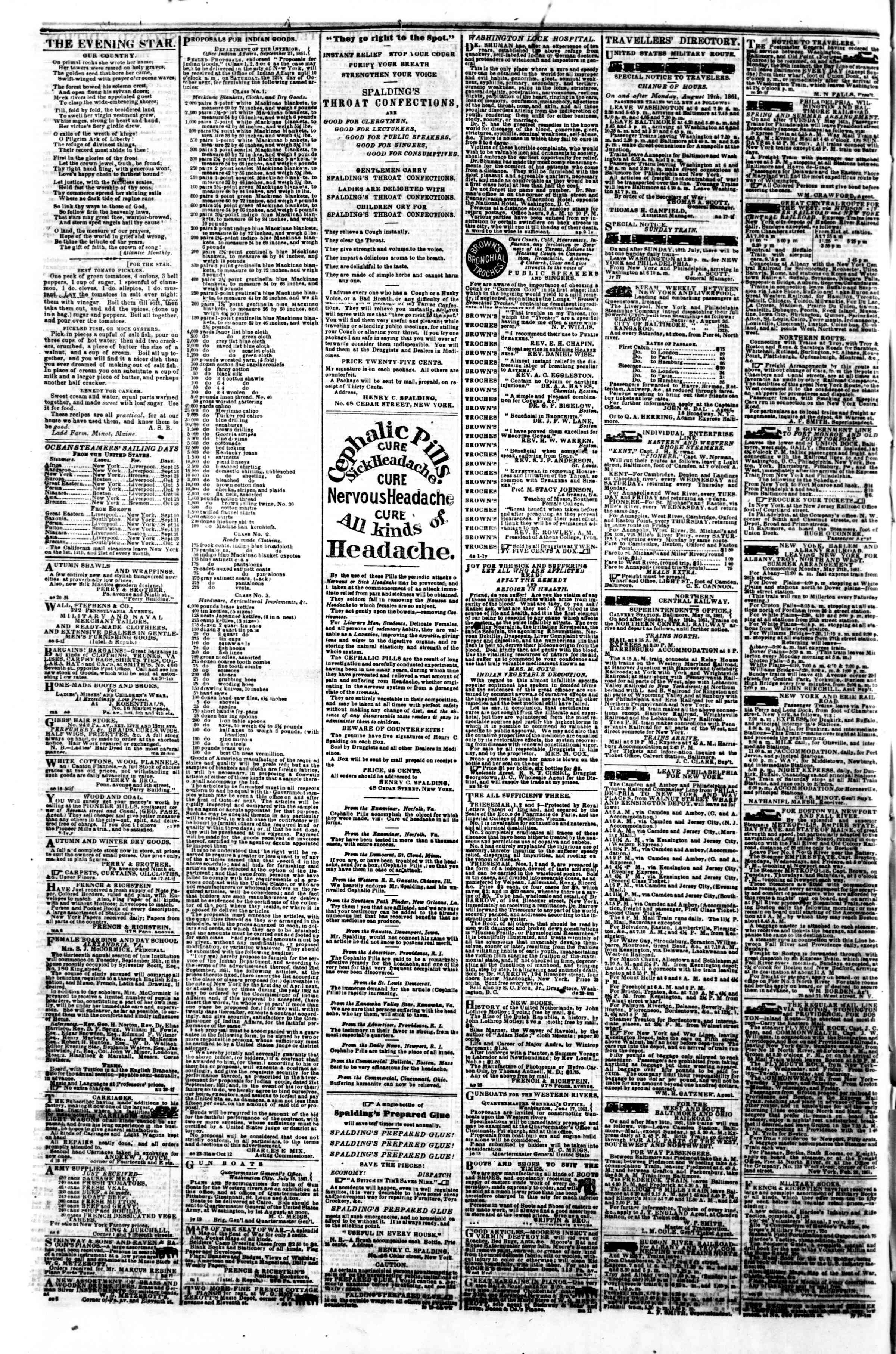 Newspaper of Evening Star dated September 25, 1861 Page 4