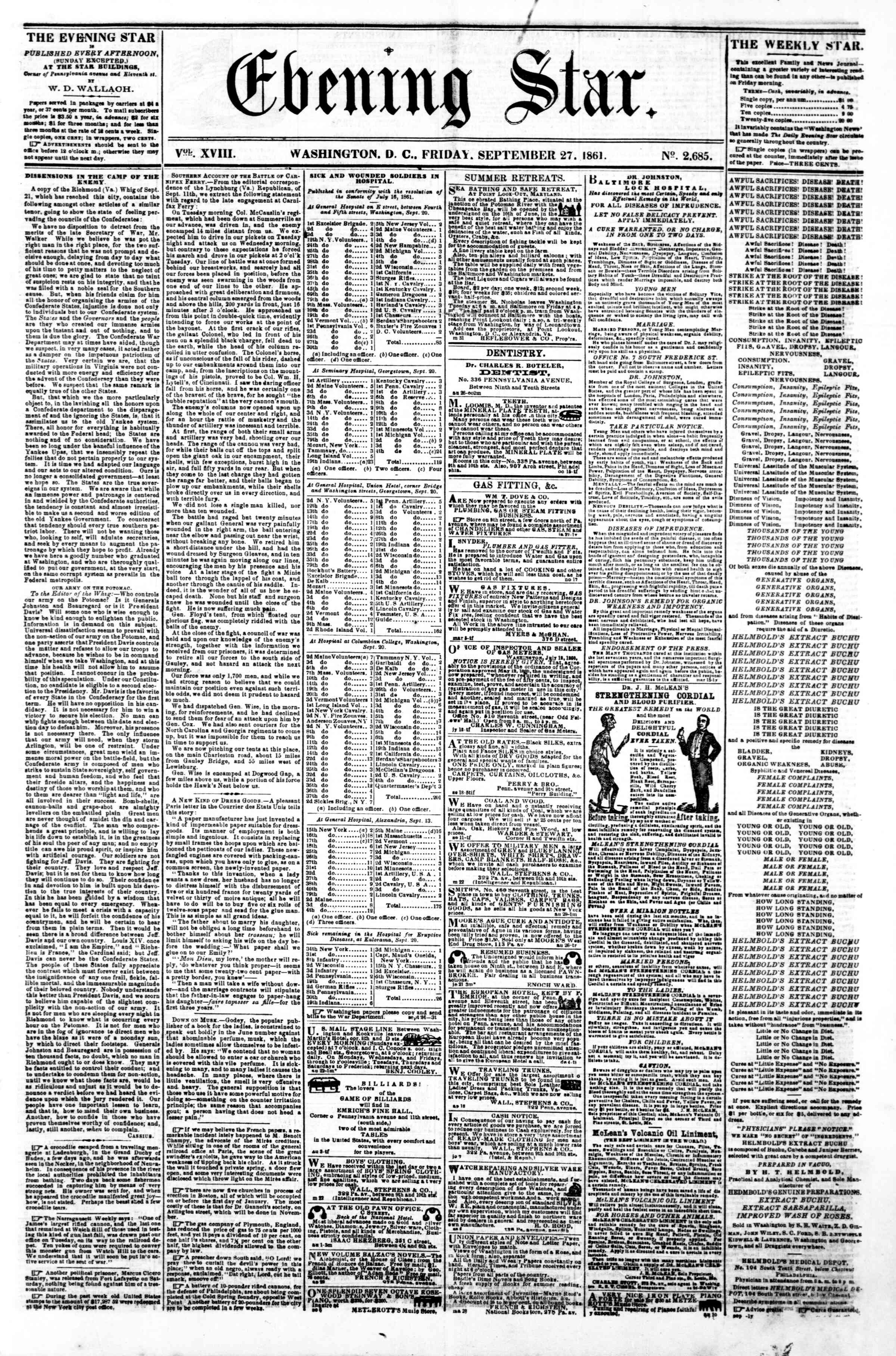 Newspaper of Evening Star dated September 27, 1861 Page 1