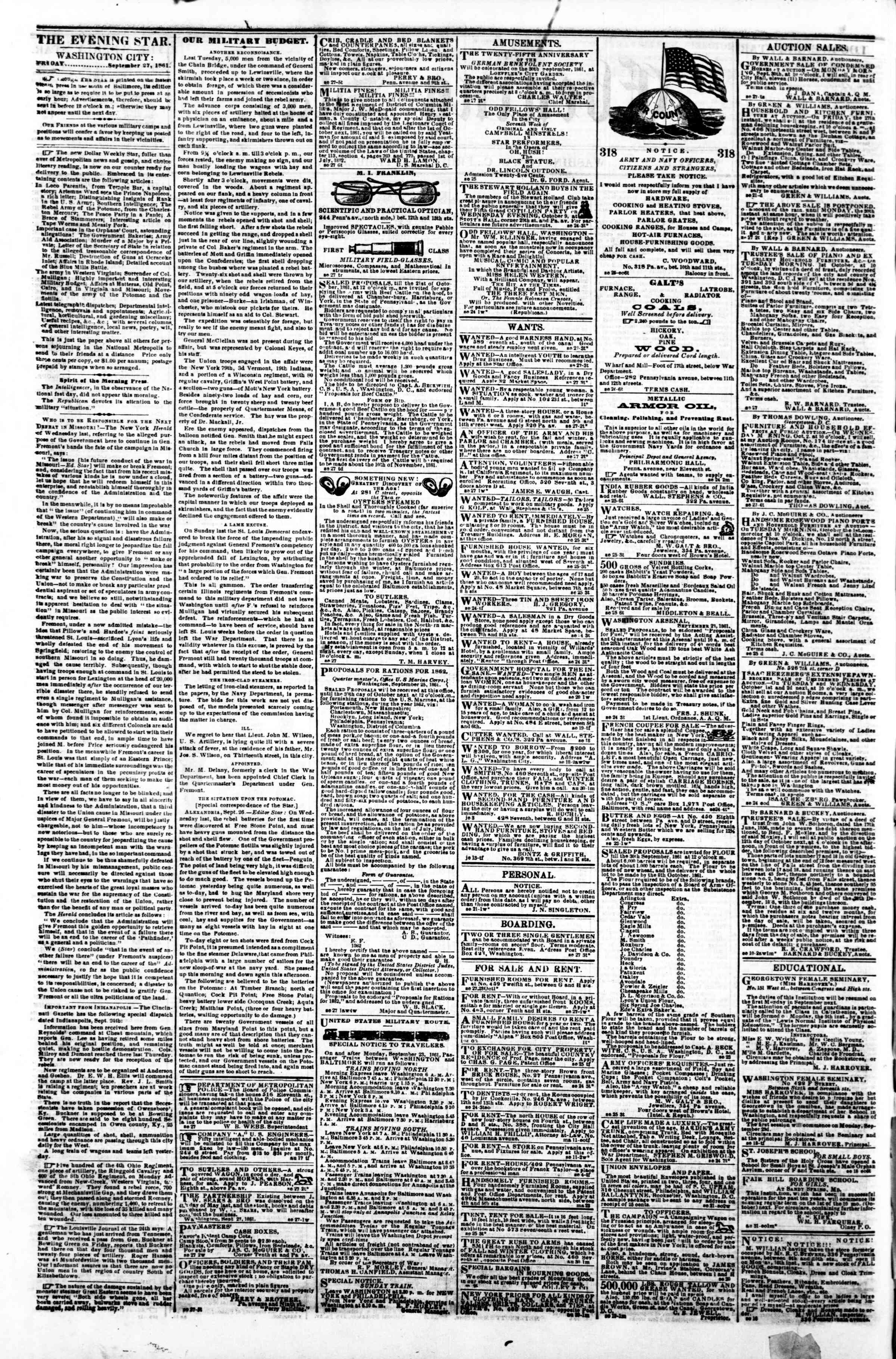 Newspaper of Evening Star dated September 27, 1861 Page 2