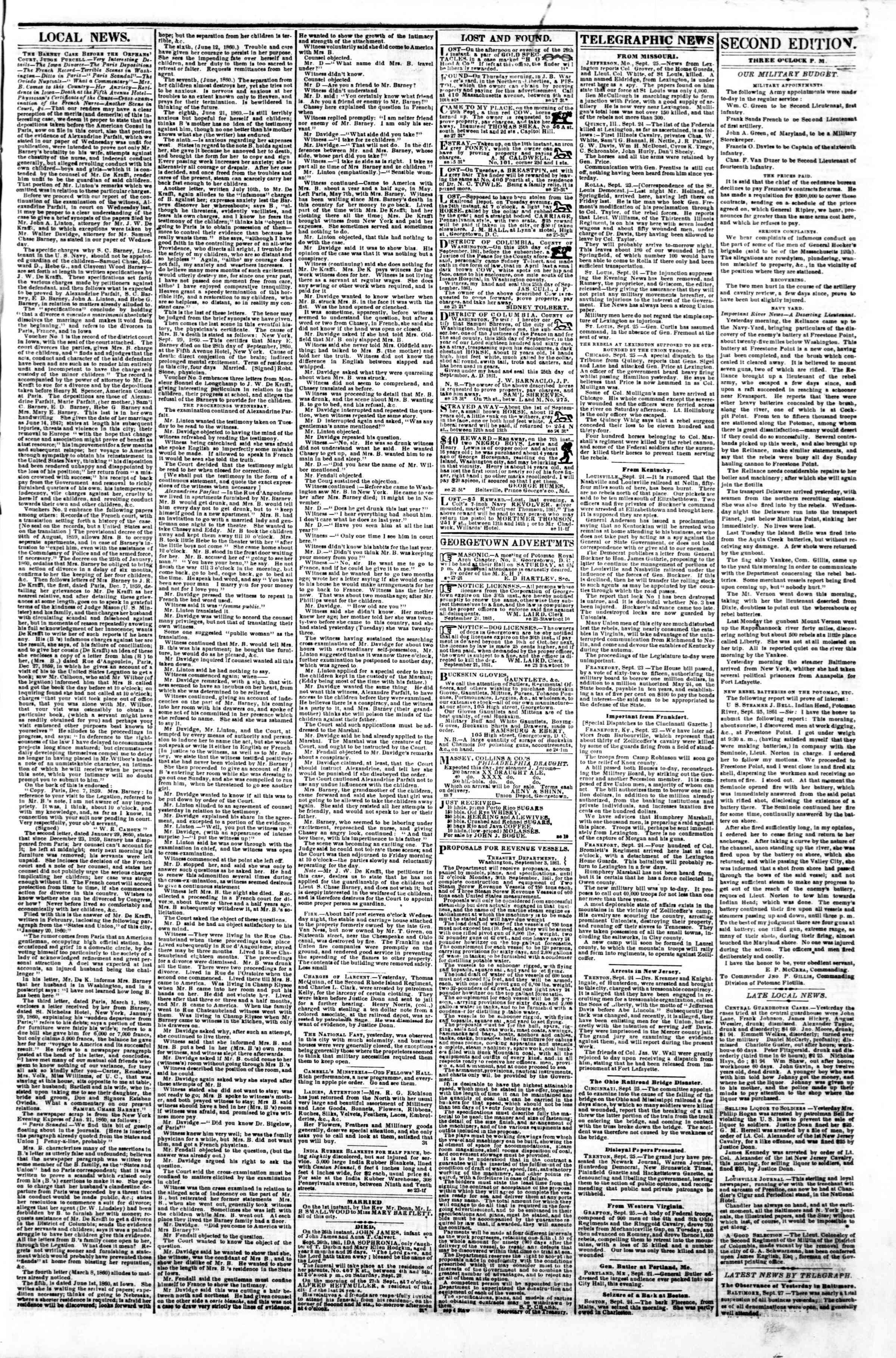 Newspaper of Evening Star dated September 27, 1861 Page 3