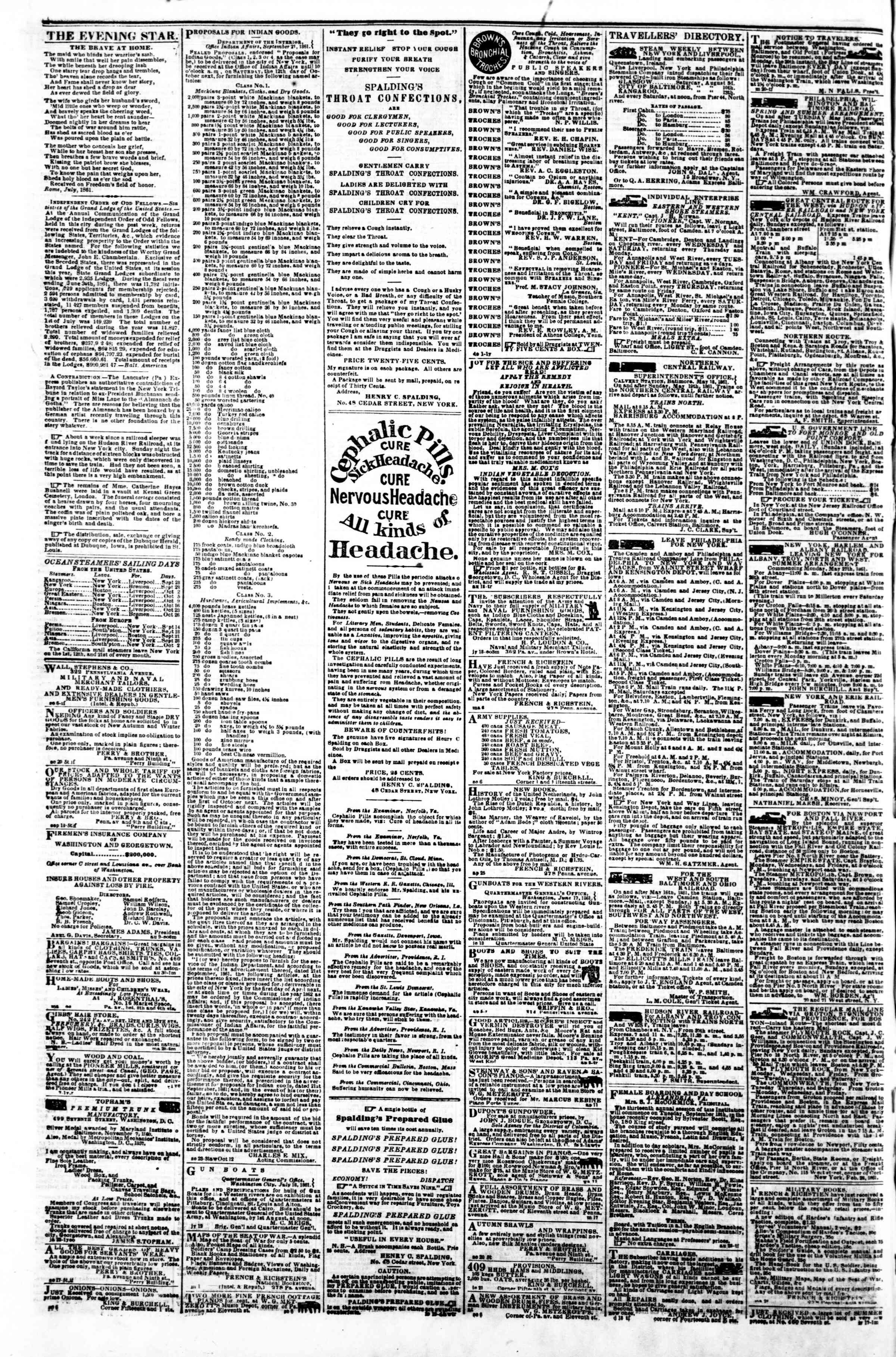 Newspaper of Evening Star dated 27 Eylül 1861 Page 4