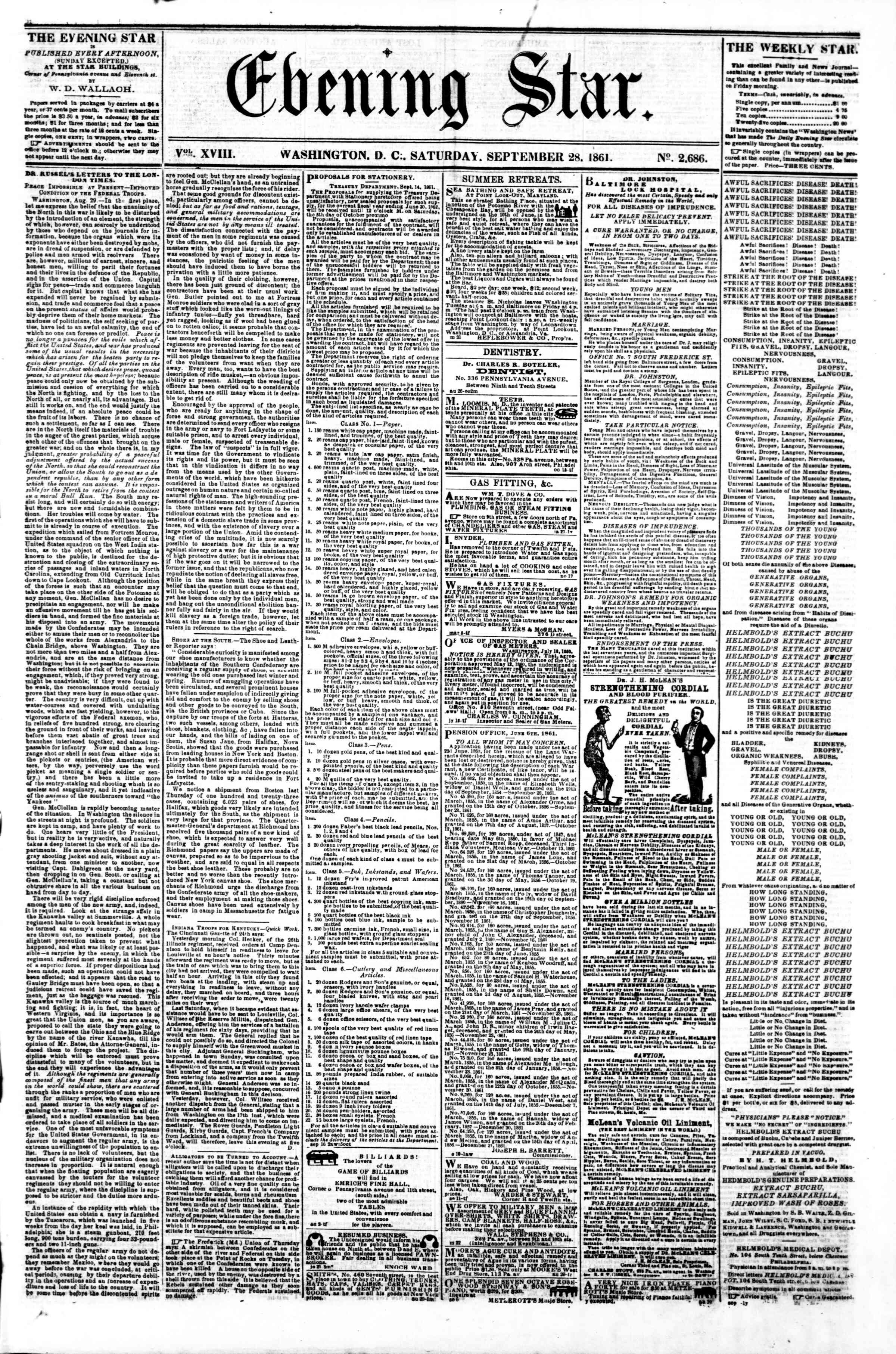 Newspaper of Evening Star dated September 28, 1861 Page 1