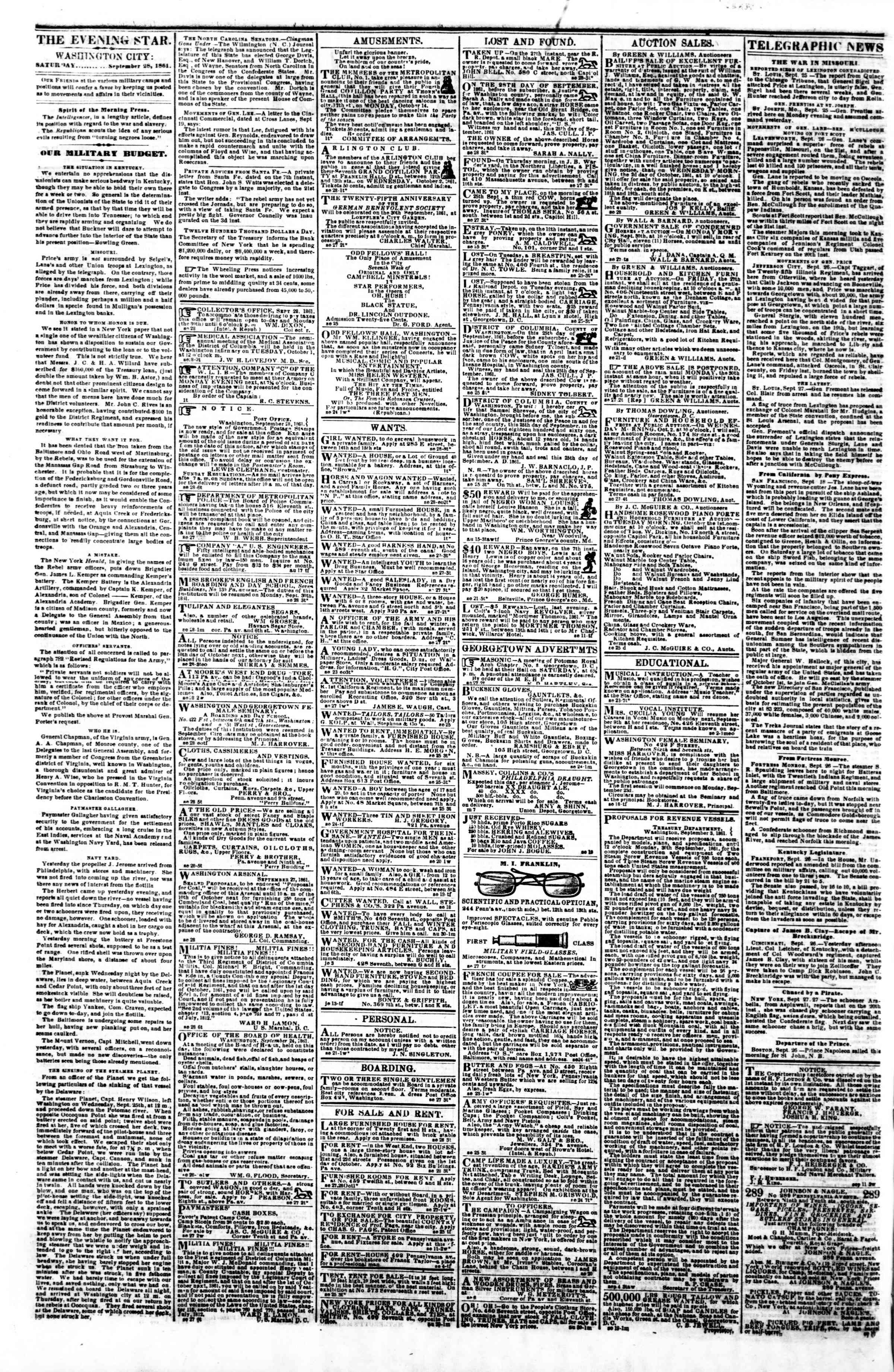 Newspaper of Evening Star dated 28 Eylül 1861 Page 2