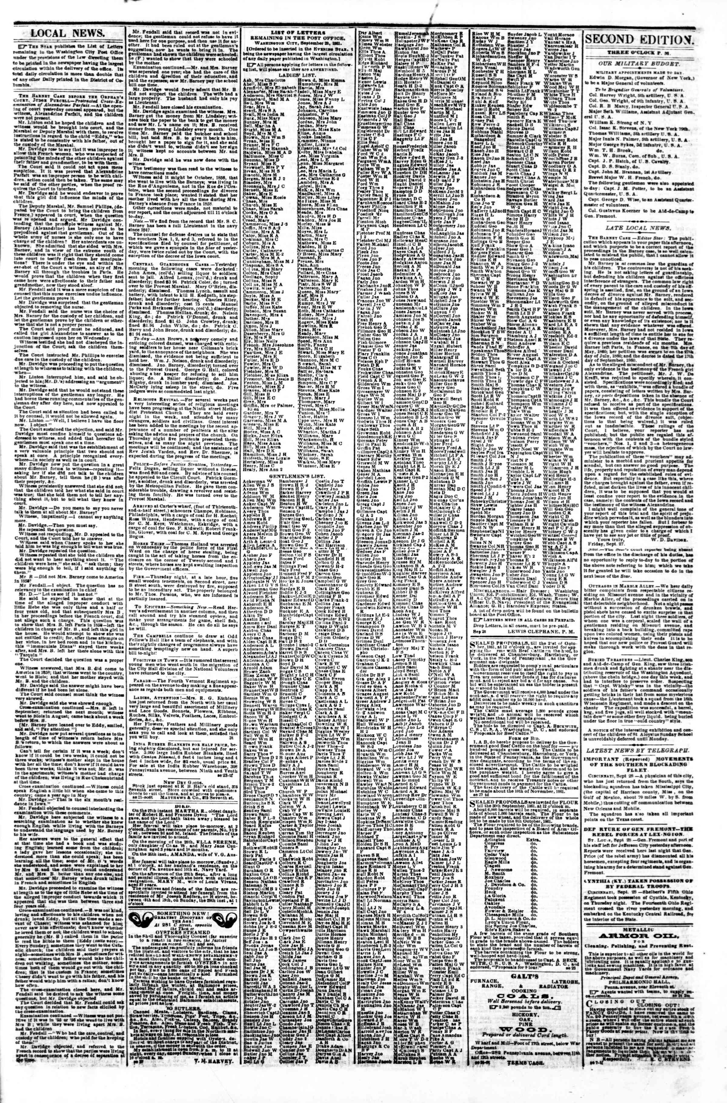 Newspaper of Evening Star dated September 28, 1861 Page 3