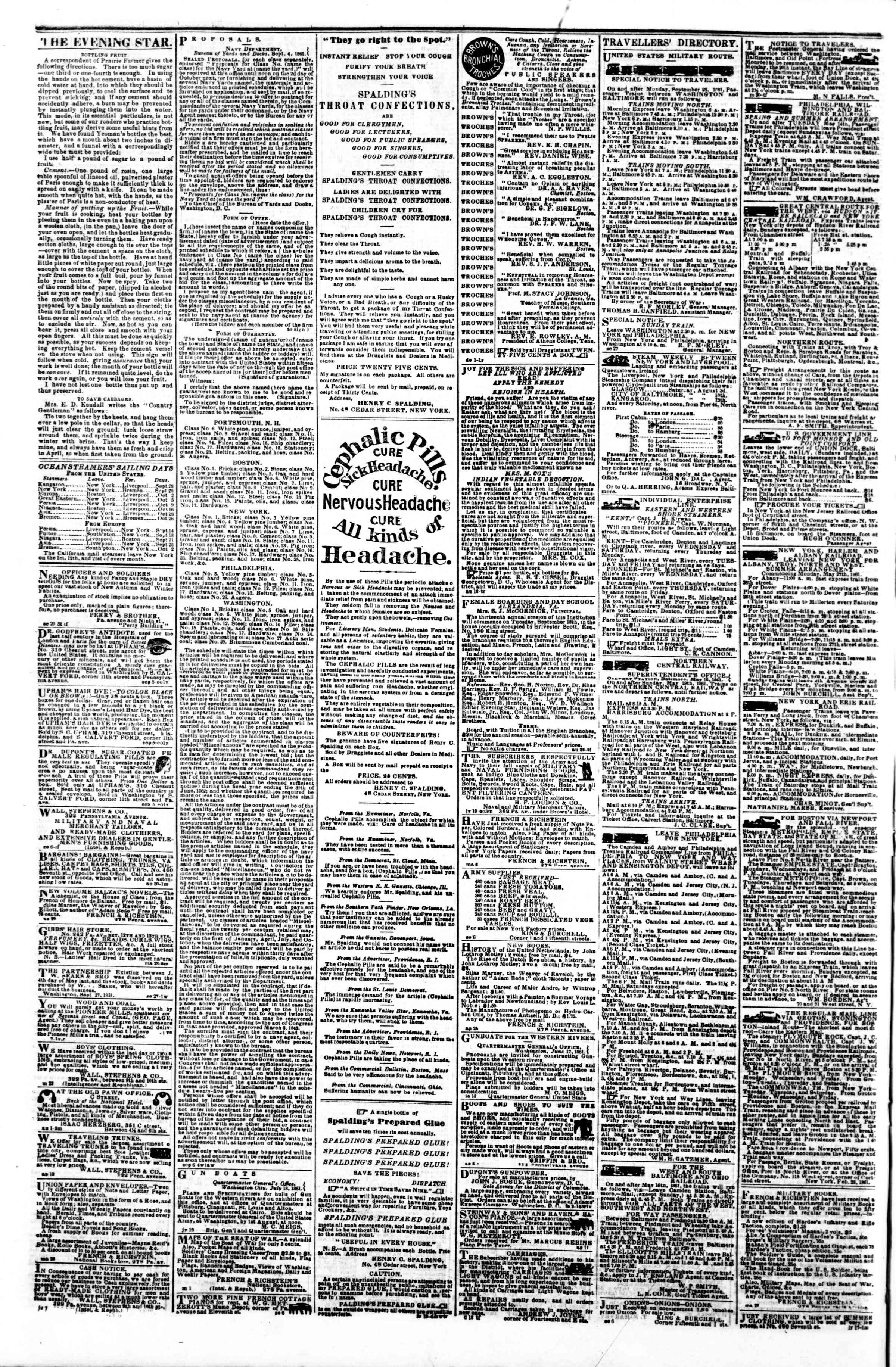 Newspaper of Evening Star dated September 28, 1861 Page 4