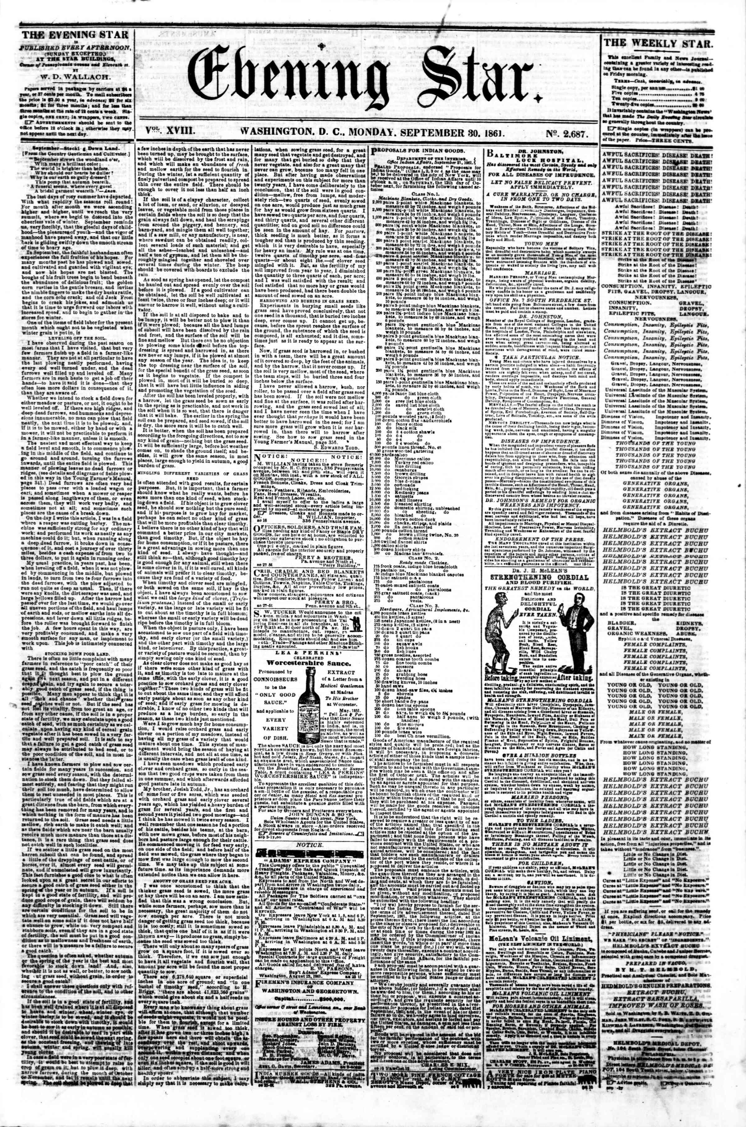 30 Eylül 1861 tarihli Evening Star Gazetesi Sayfa 1