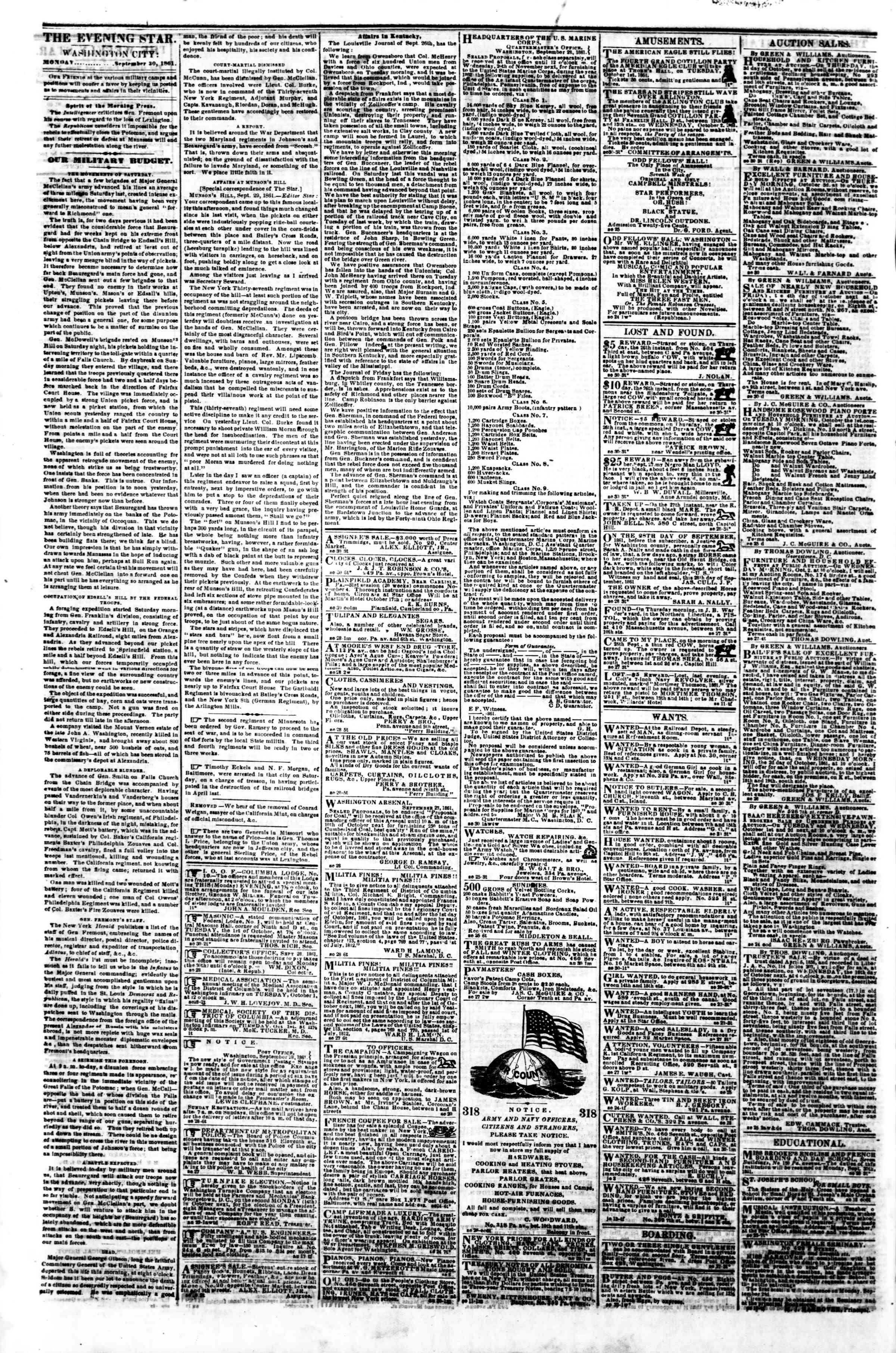 Newspaper of Evening Star dated September 30, 1861 Page 2