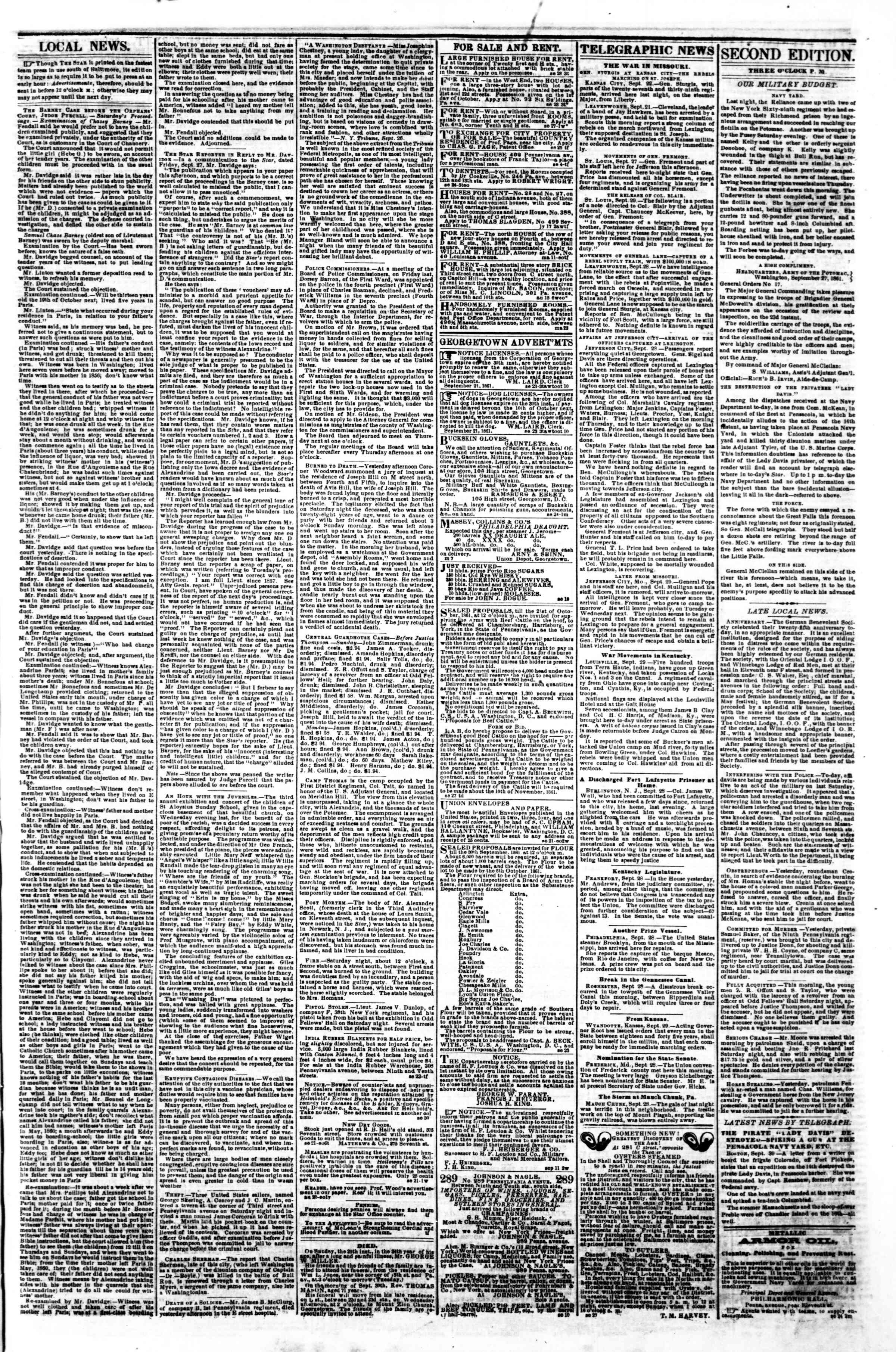 Newspaper of Evening Star dated September 30, 1861 Page 3