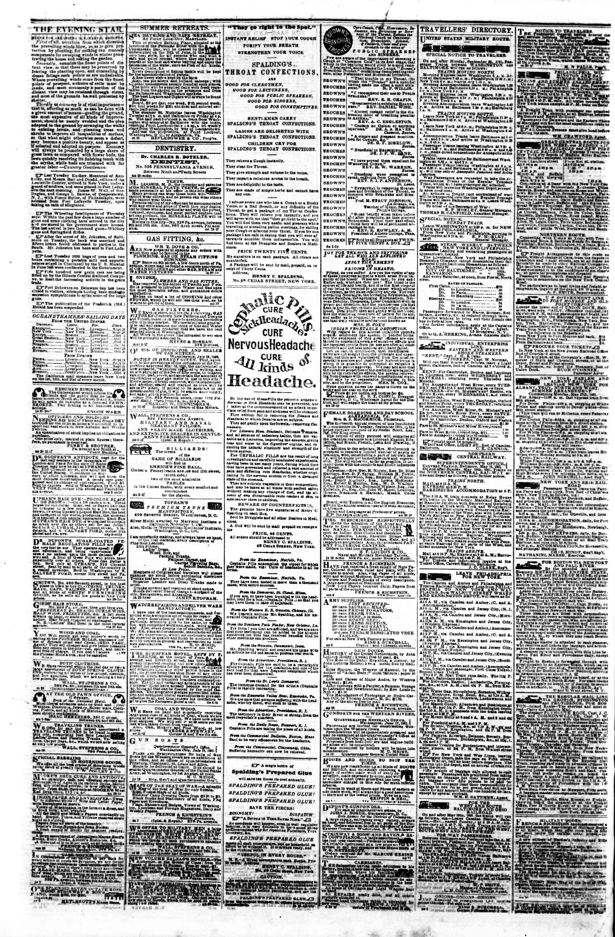 Newspaper of Evening Star dated September 30, 1861 Page 4