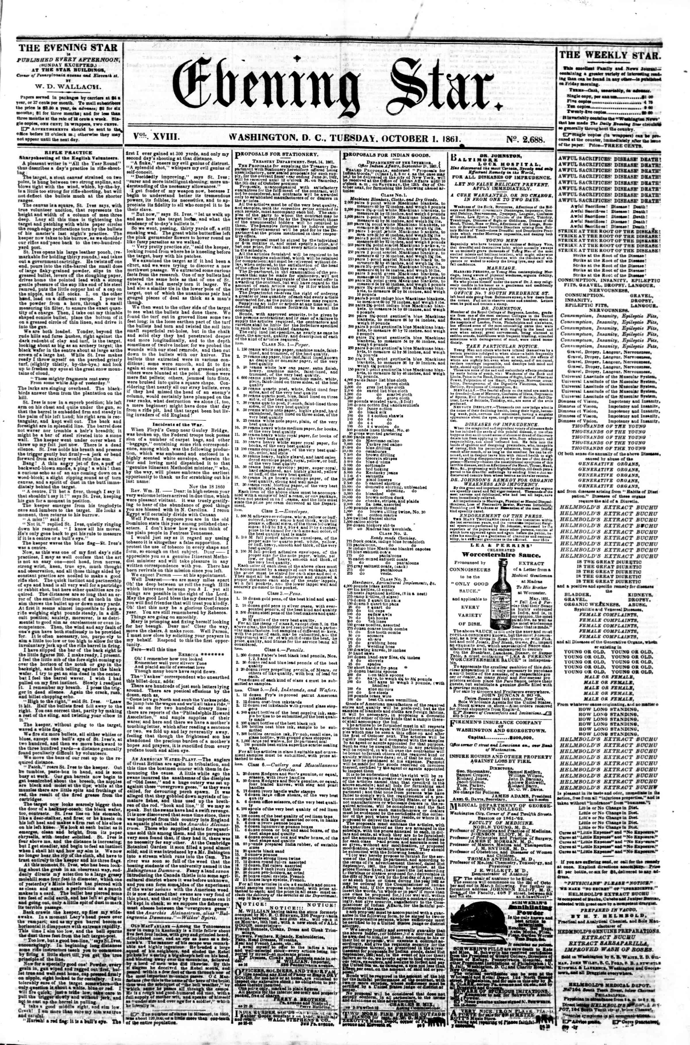 Newspaper of Evening Star dated October 1, 1861 Page 1