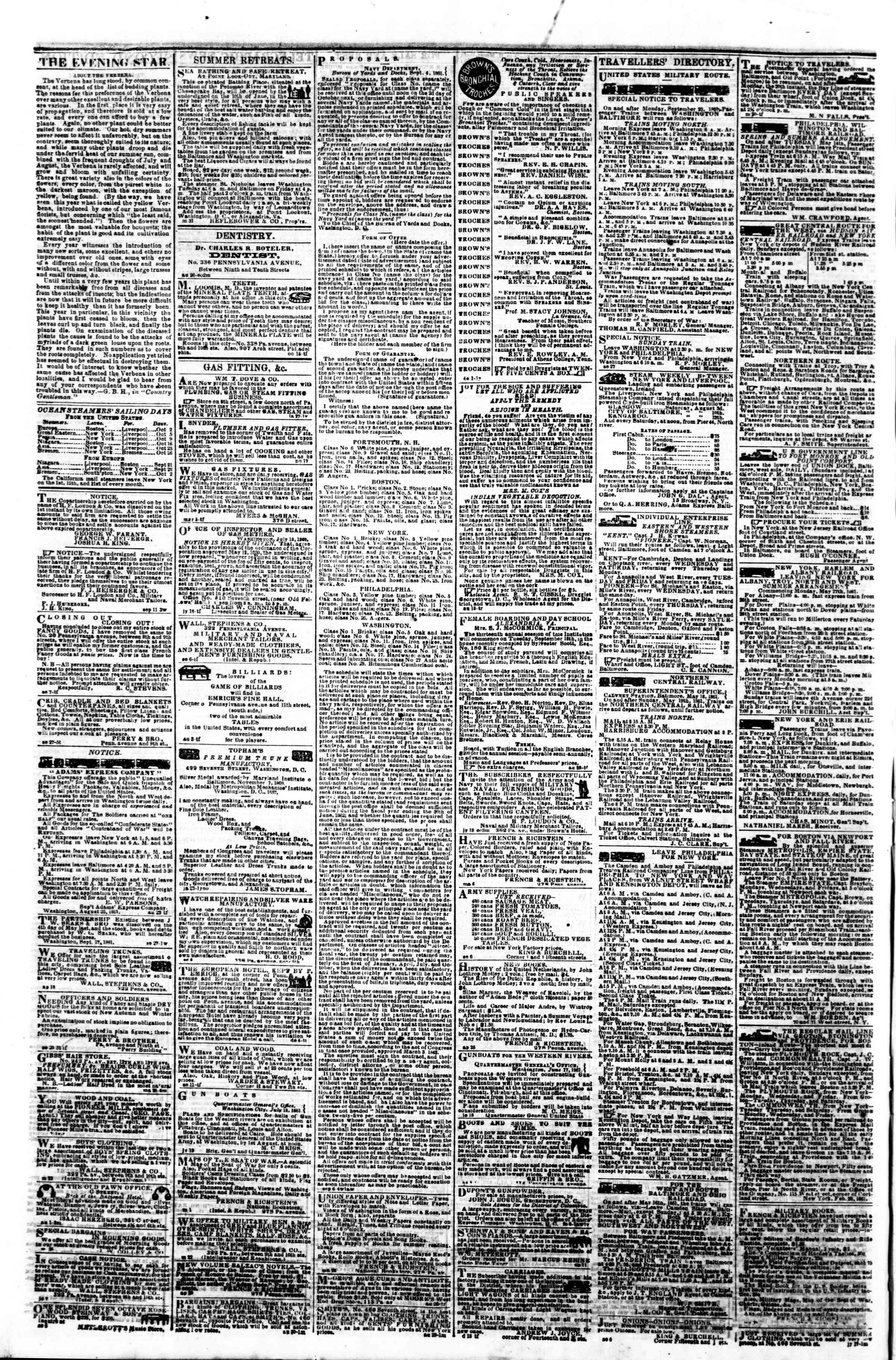 Newspaper of Evening Star dated October 1, 1861 Page 4