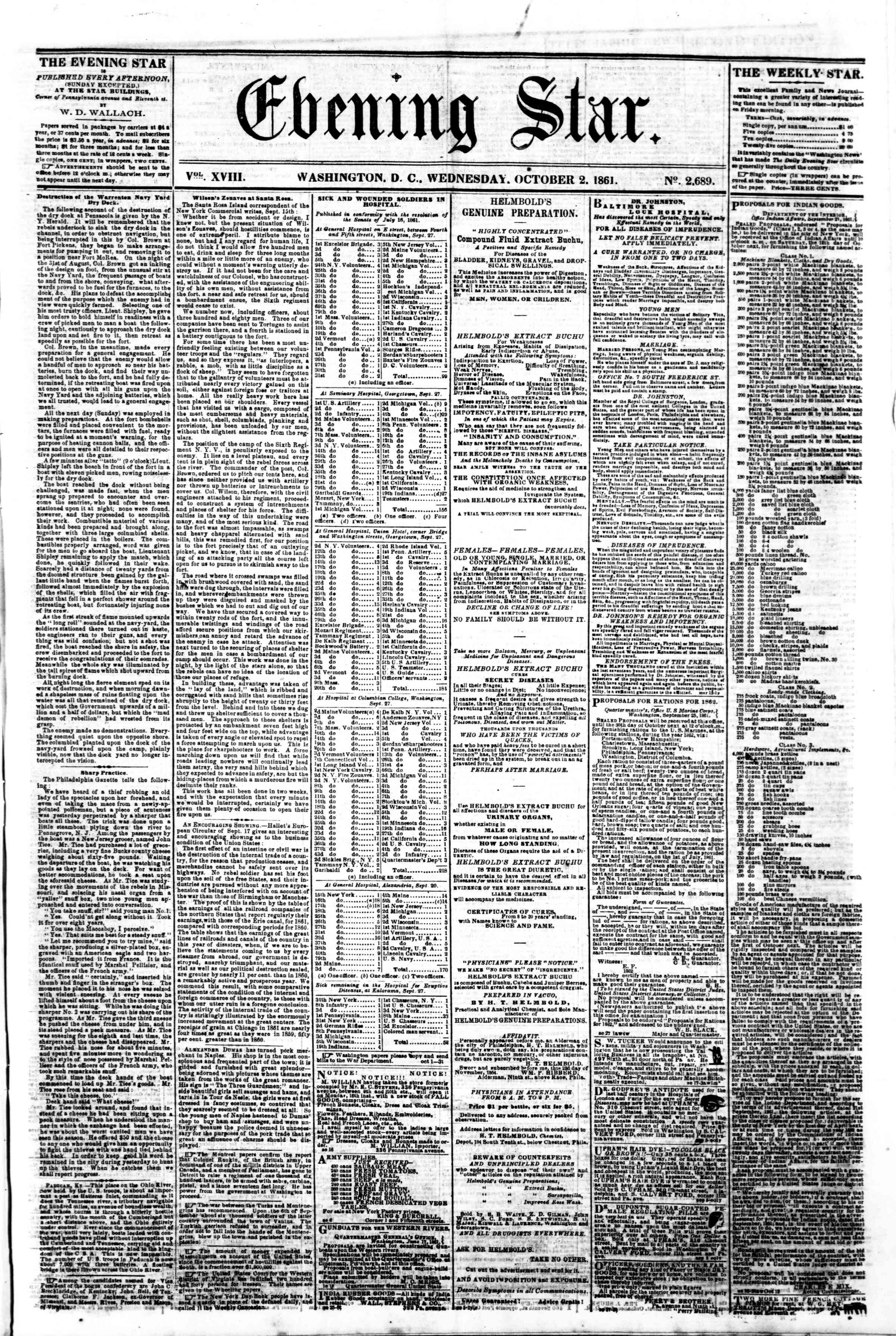Newspaper of Evening Star dated October 2, 1861 Page 1