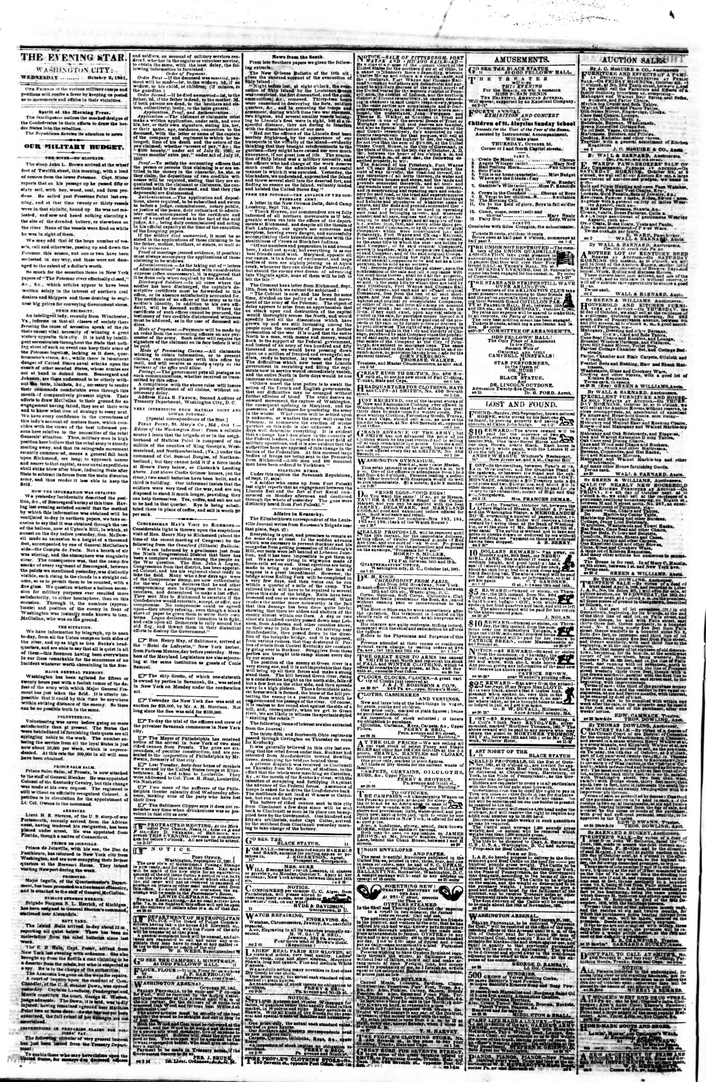 2 Ekim 1861 tarihli Evening Star Gazetesi Sayfa 2