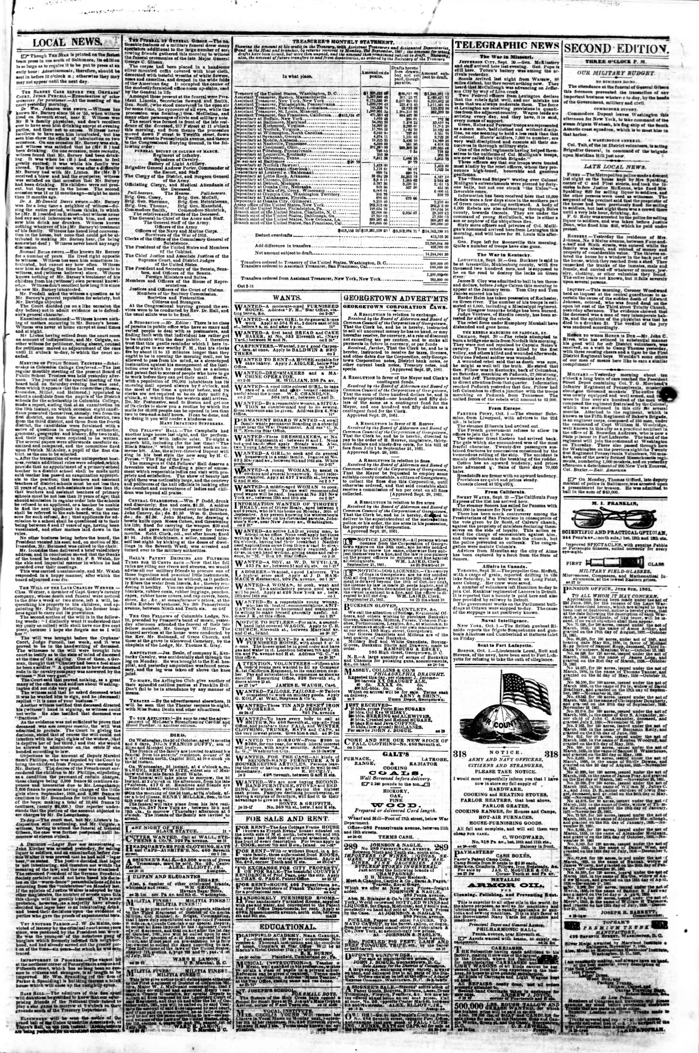 2 Ekim 1861 tarihli Evening Star Gazetesi Sayfa 3