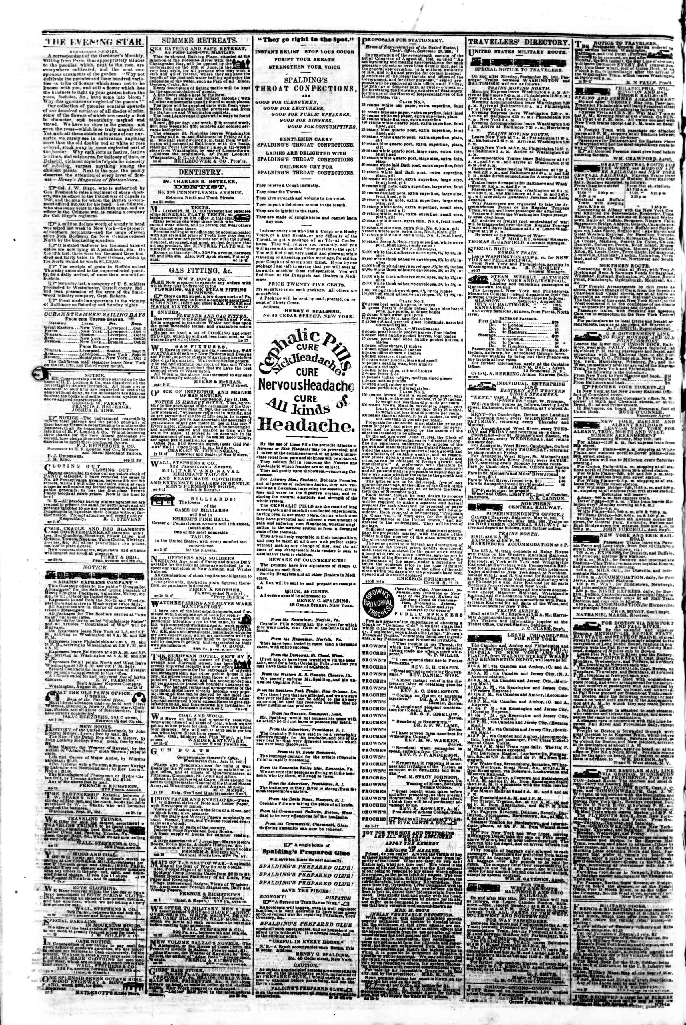 Newspaper of Evening Star dated October 2, 1861 Page 4