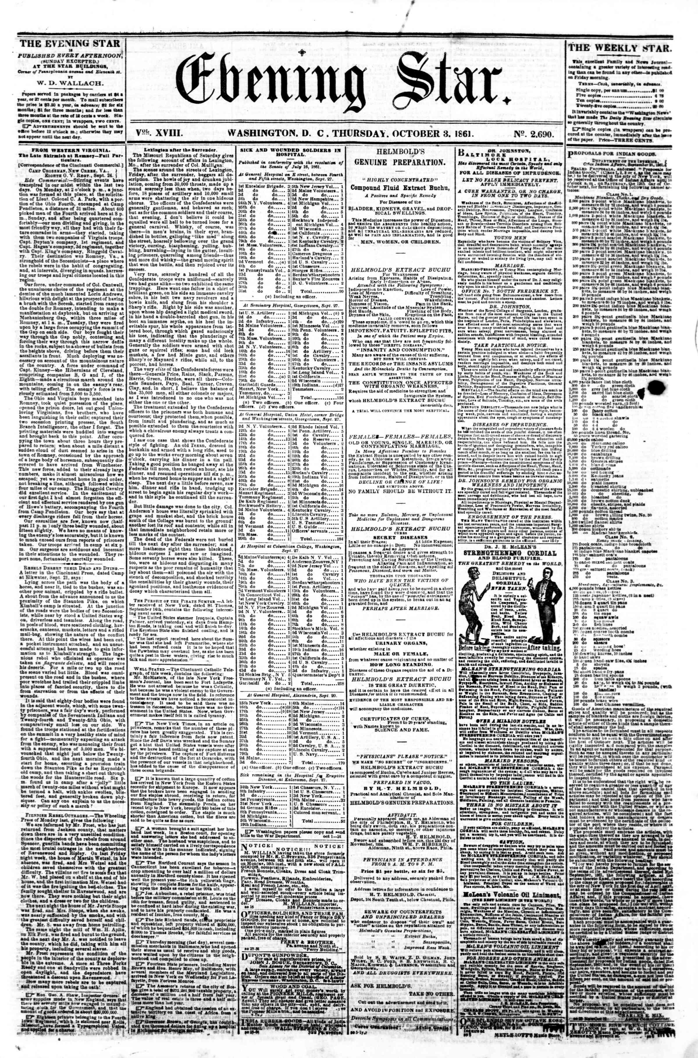 3 Ekim 1861 tarihli Evening Star Gazetesi Sayfa 1