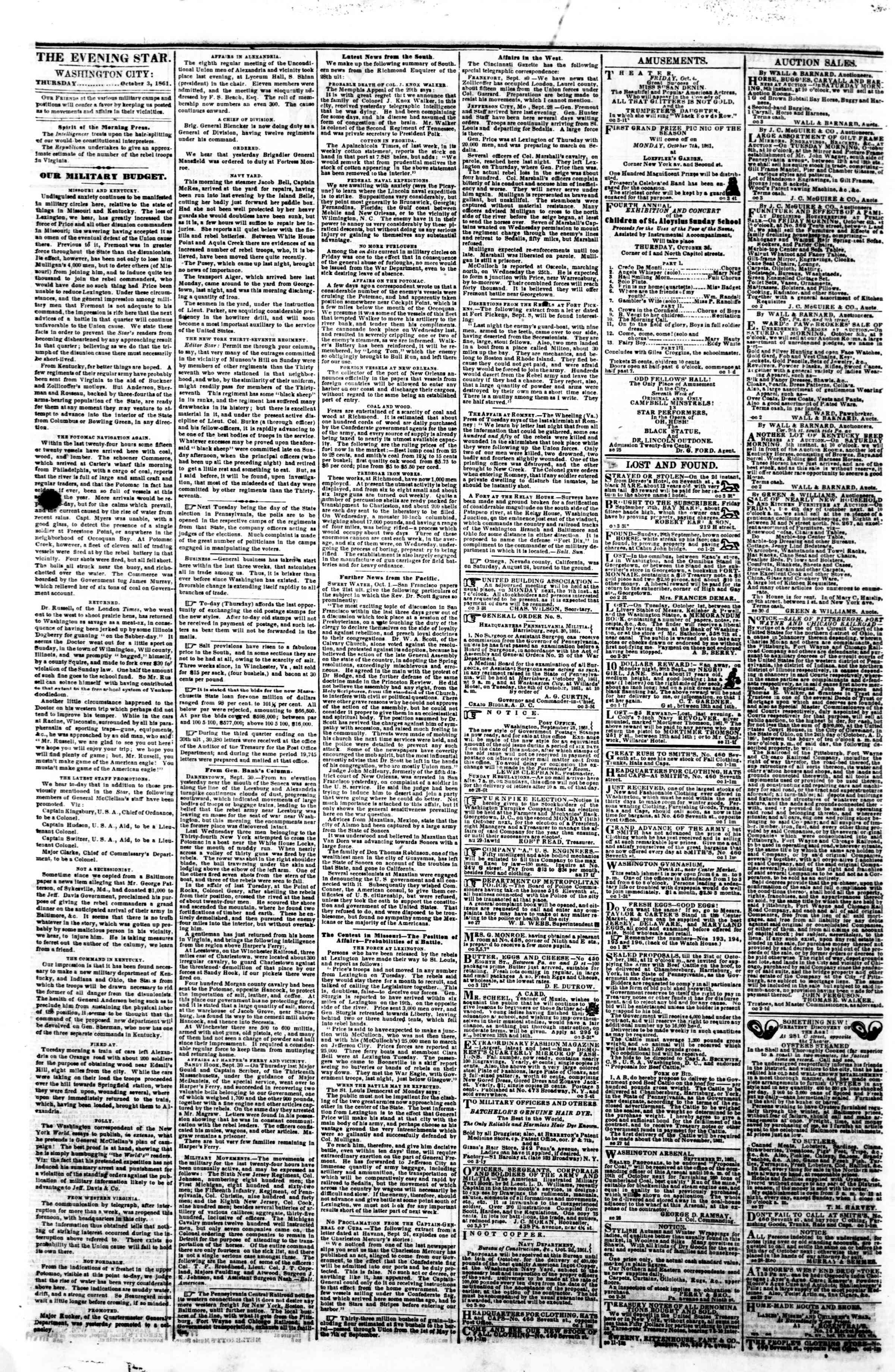 Newspaper of Evening Star dated October 3, 1861 Page 2