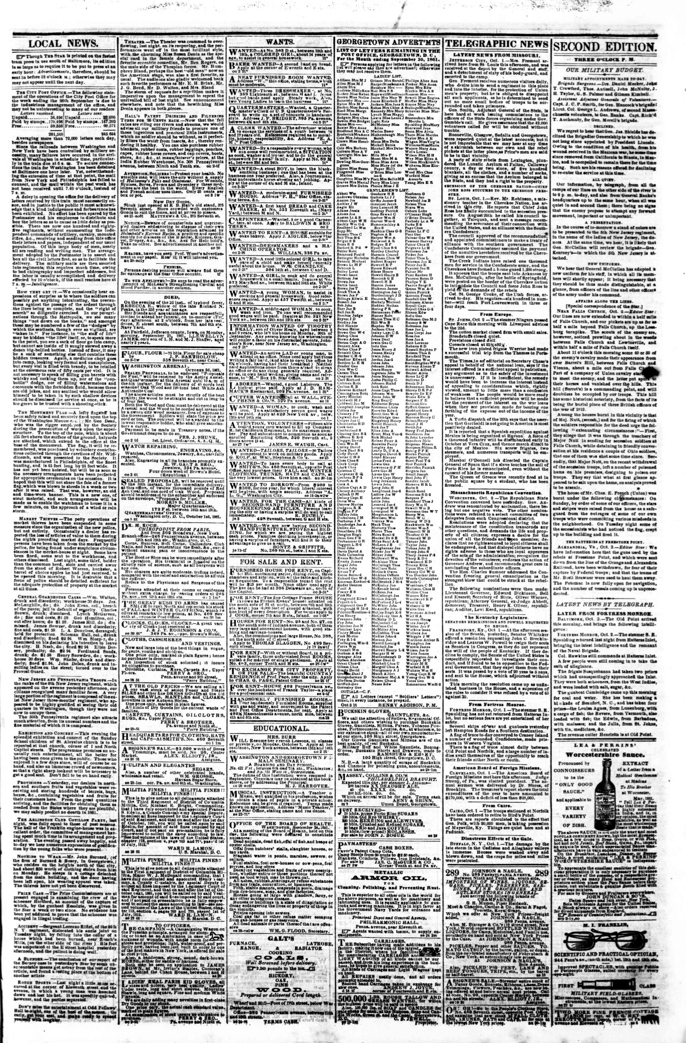 Newspaper of Evening Star dated 3 Ekim 1861 Page 3