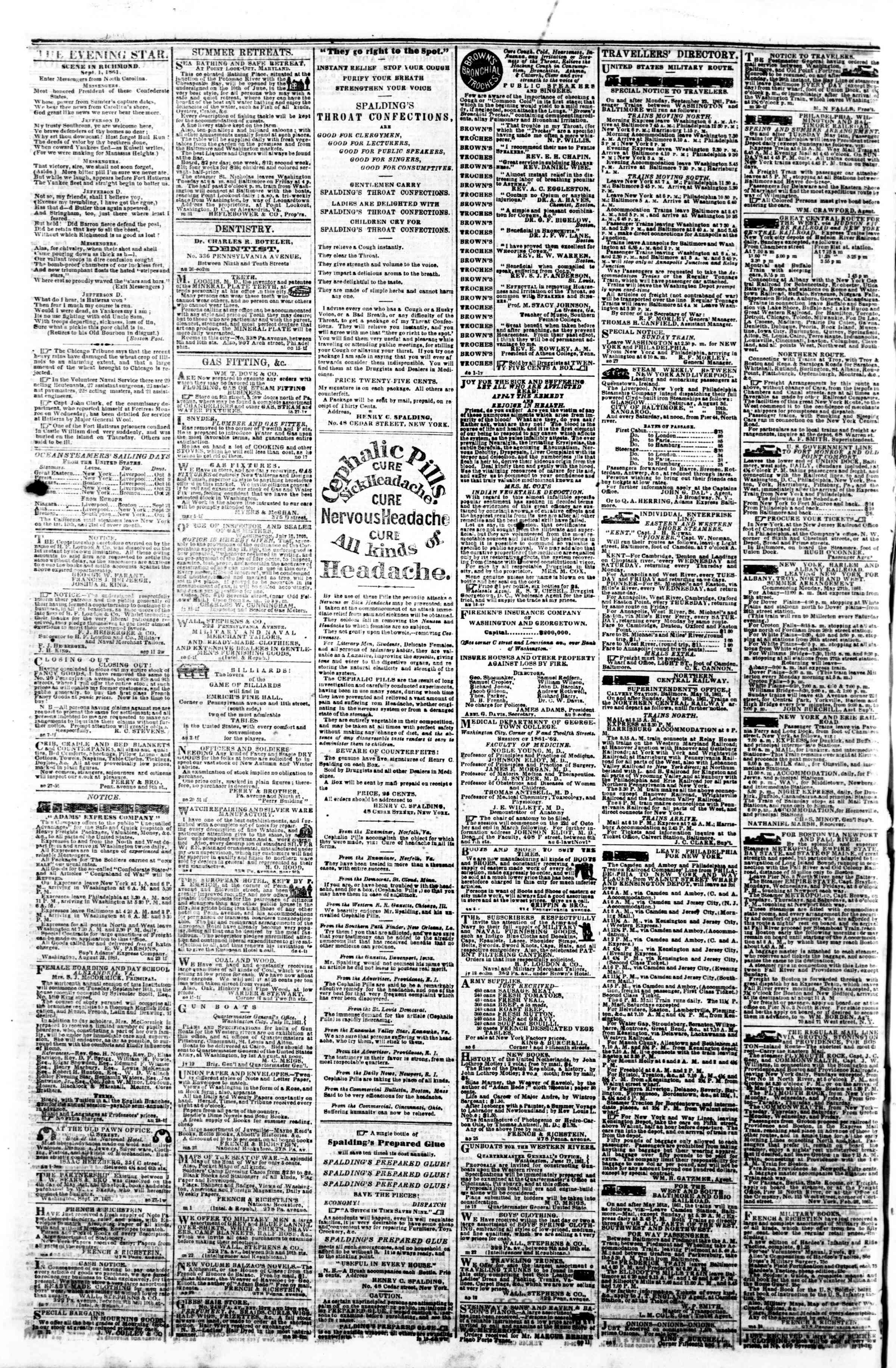 Newspaper of Evening Star dated October 3, 1861 Page 4