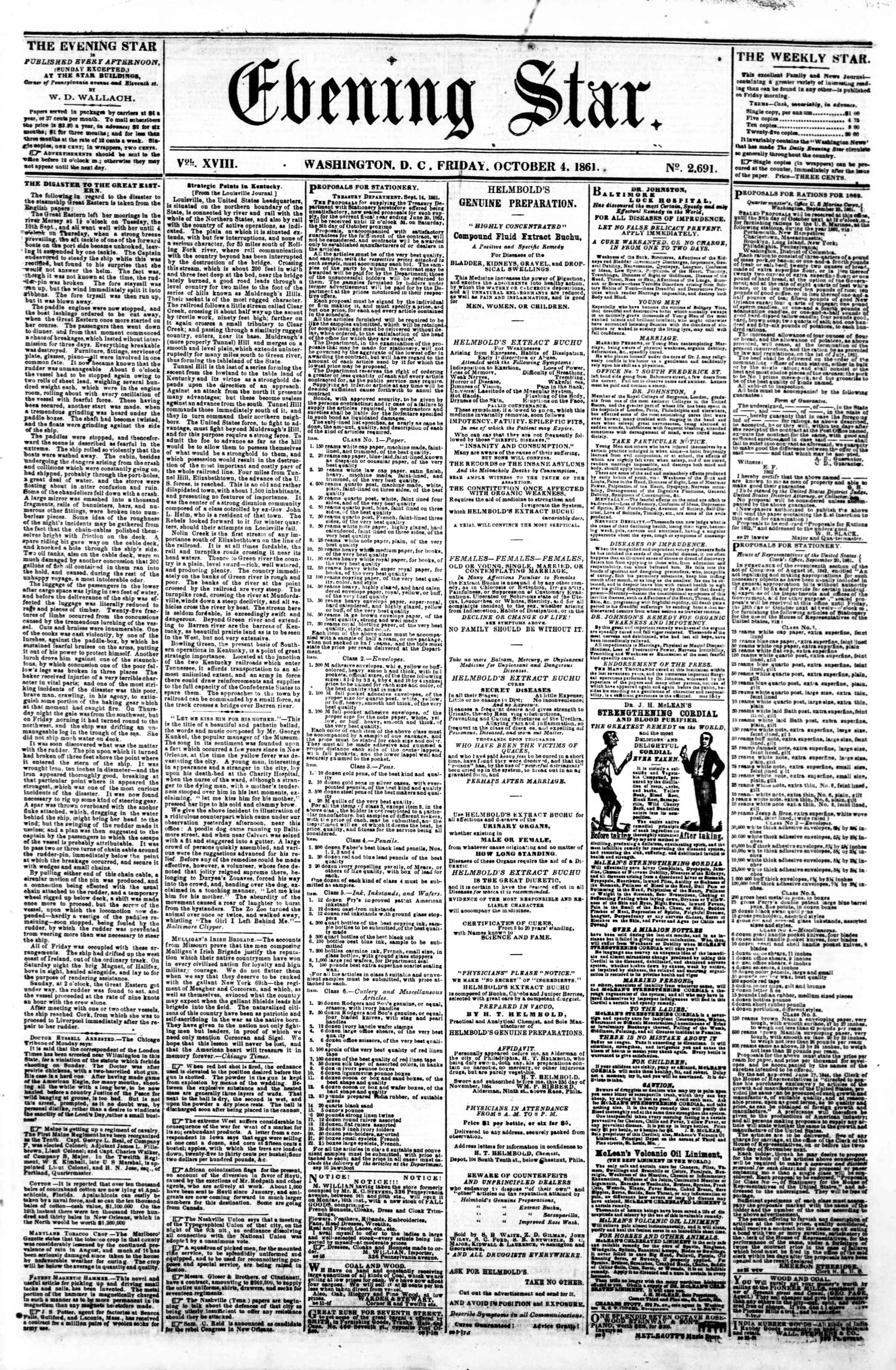 Newspaper of Evening Star dated October 4, 1861 Page 1
